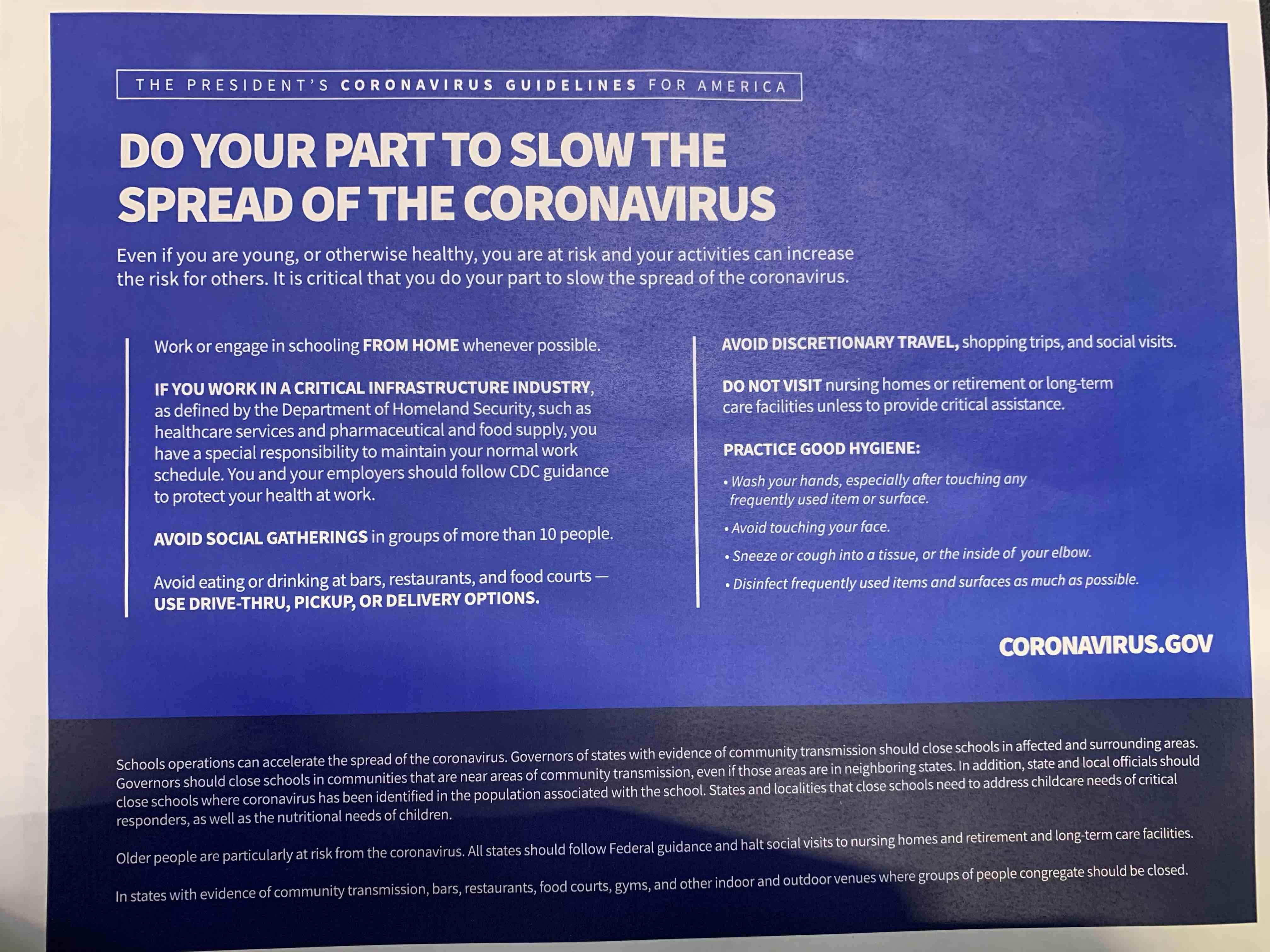 White House coronavirus guidance (White House)