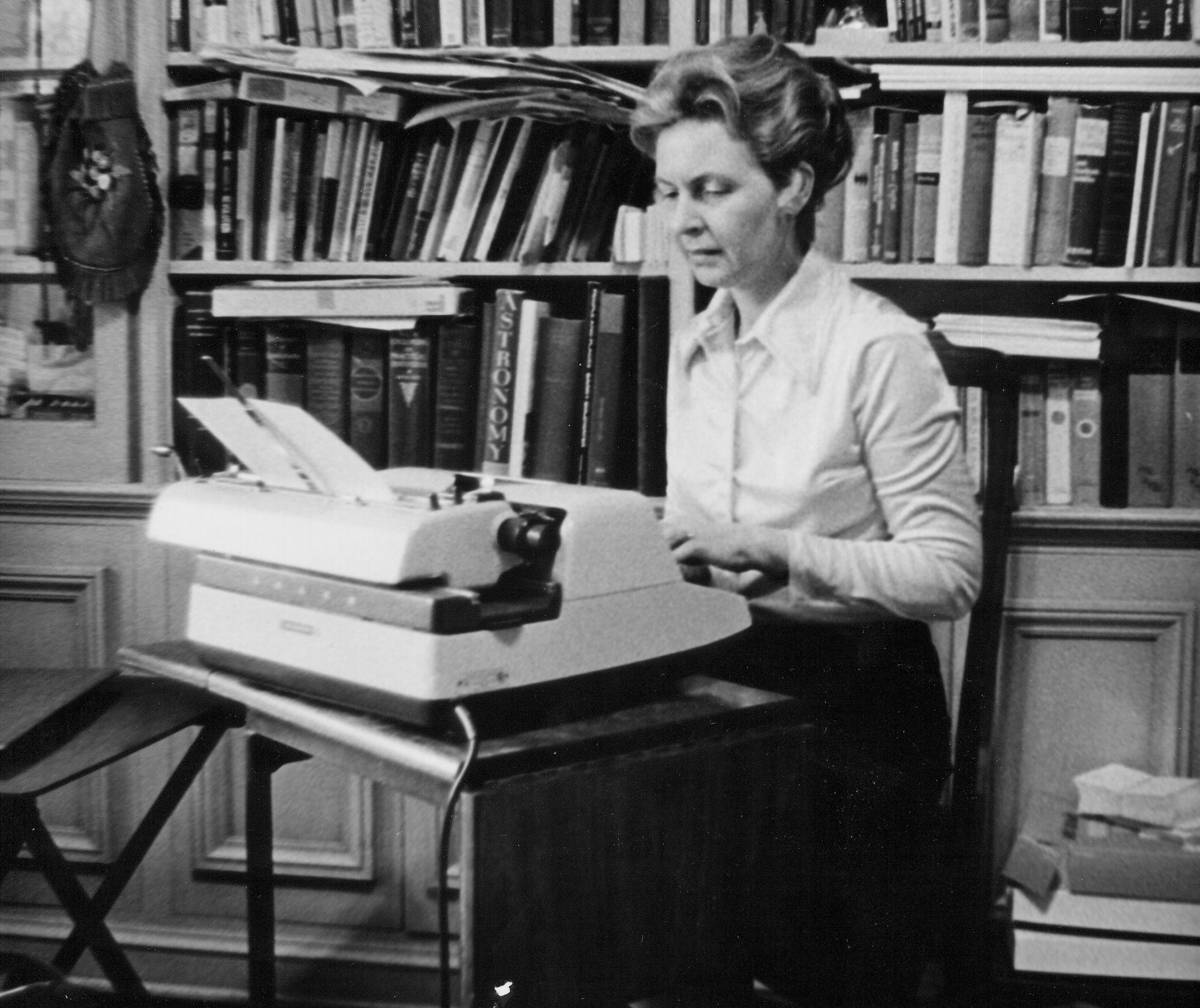 Phyllis Schlafly working. Photo courtesy of Eagle Forum.