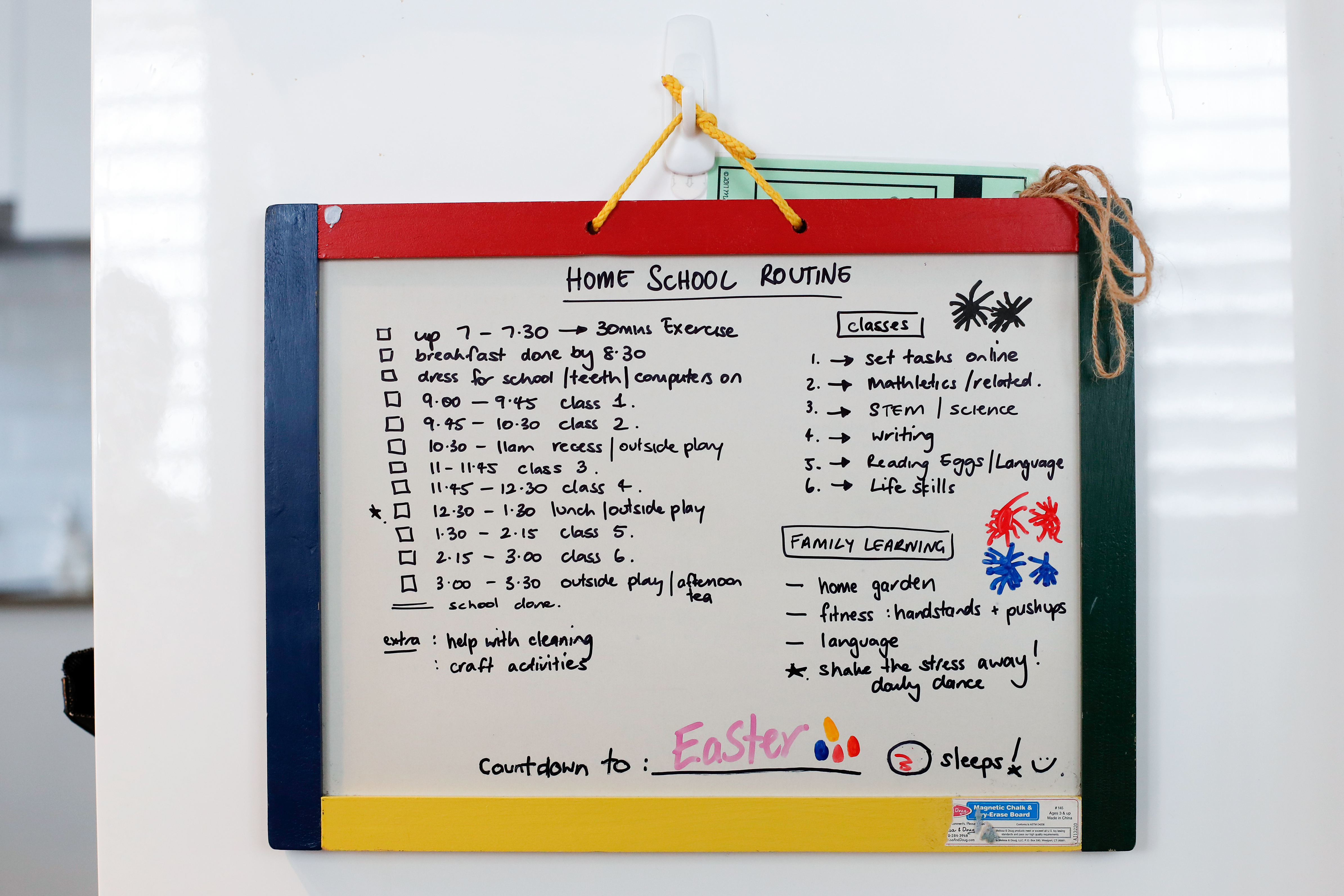 A list of home schooling routine is seen at Donna Eddy's home on April 09, 2020 in Sydney, Australia. (Photo by Brendon Thorne/Getty Images)