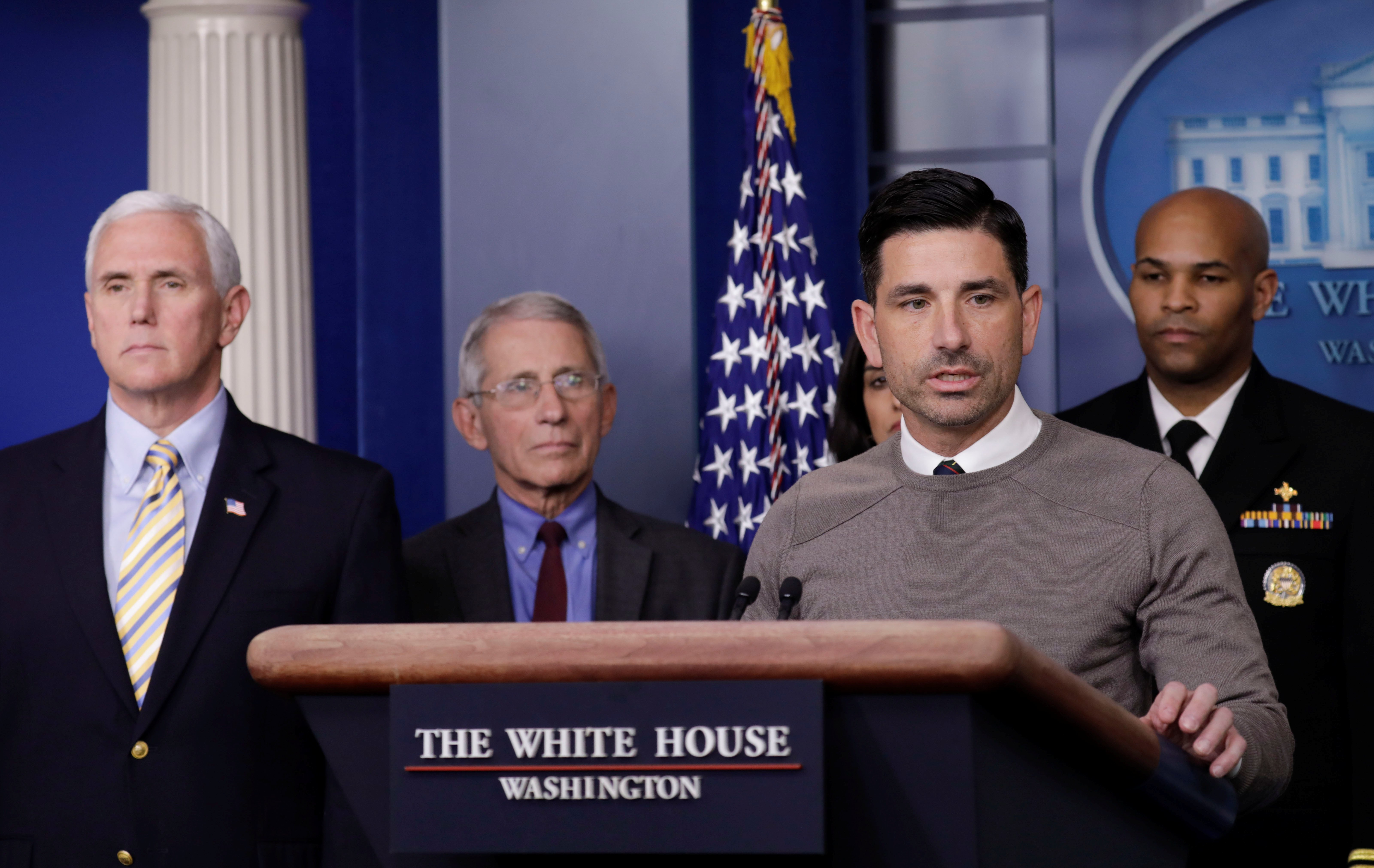 President Donald Trump with the Coronavirus Task Force hold a press briefing in Washington