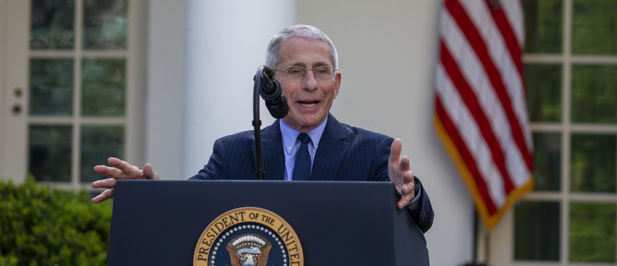 Anthony Fauci, Director of the National Institute of Allergy and Infectious Diseases speaks in the Rose Garden for the daily coronavirus briefing at the White House on March 29, 2020 in Washington, DC. The United States is advisingresidents of New York, New Jersey and Connecticutnot to travel domestically after the number of reportedcoronavirusdeaths doubled to over 2,000 nationwidewithin two days. (Photo by Tasos Katopodis/Getty Images)