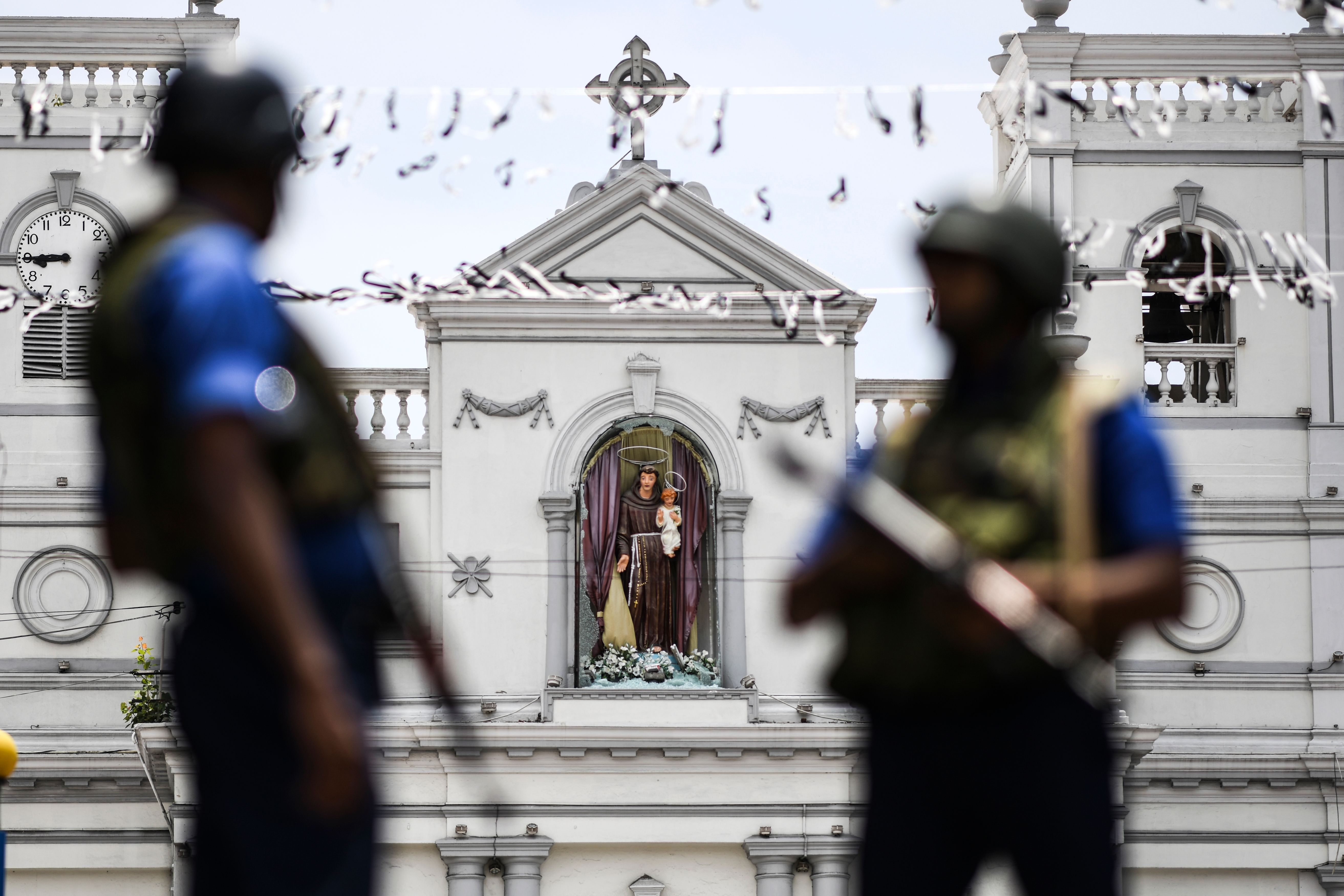 Soldiers stand guard outside St. Anthony's Shrine in Colombo on April 25, 2019, following a series of bomb blasts targeting churches and luxury hotels on the Easter Sunday in Sri Lanka. (JEWEL SAMAD/AFP via Getty Images)