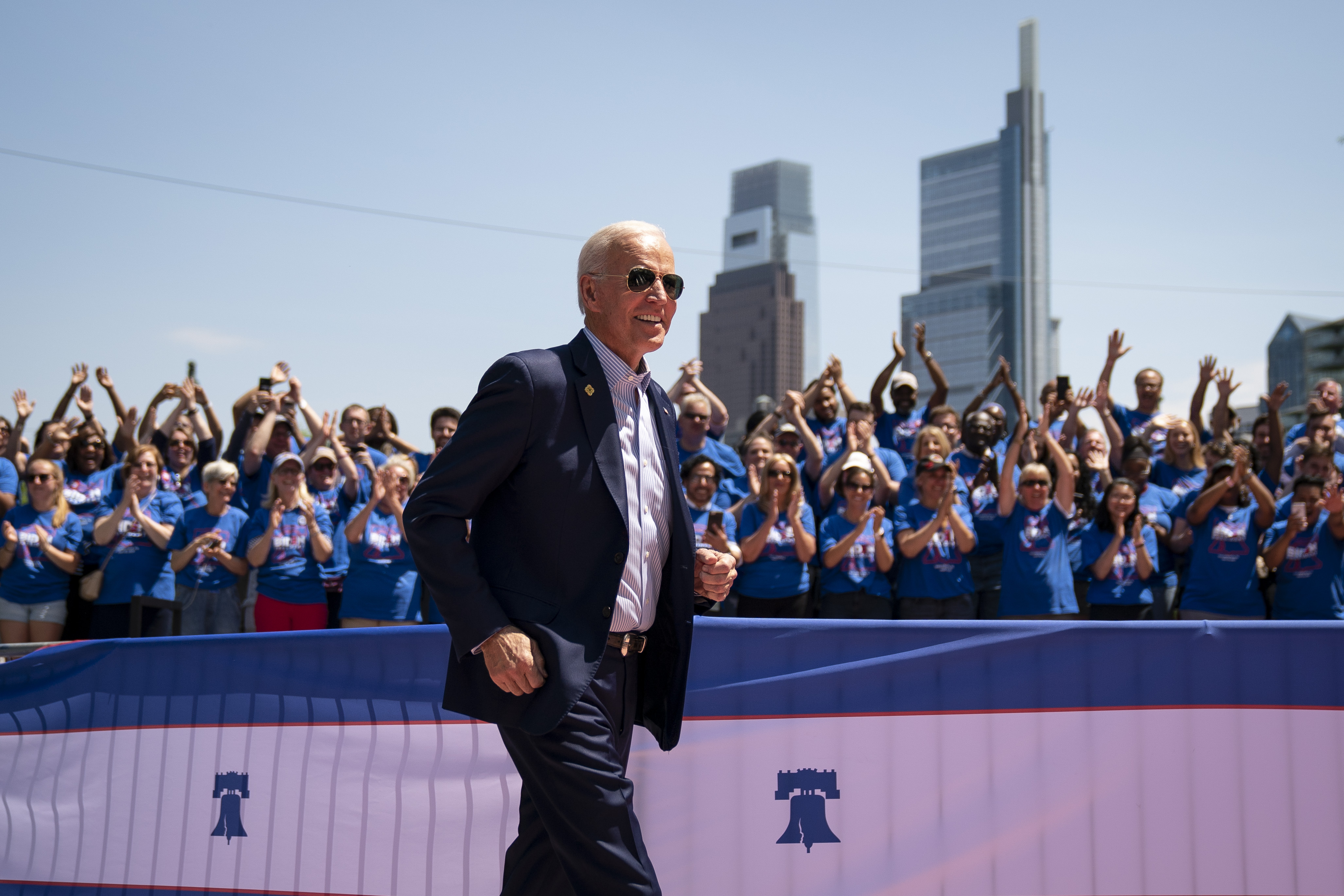 PHILADELPHIA, PA - MAY 18: Former U.S. Vice President and Democratic presidential candidate Joe Biden arrives for a campaign kickoff rally, May 18, 2019 in Philadelphia, Pennsylvania. Since Biden announced his candidacy in late April, he has taken the top spot in all polls of the sprawling Democratic primary field. Biden's rally on Saturday was his first large-scale campaign rally after doing smaller events in Iowa and New Hampshire in the past few weeks. (Photo by Drew Angerer/Getty Images)