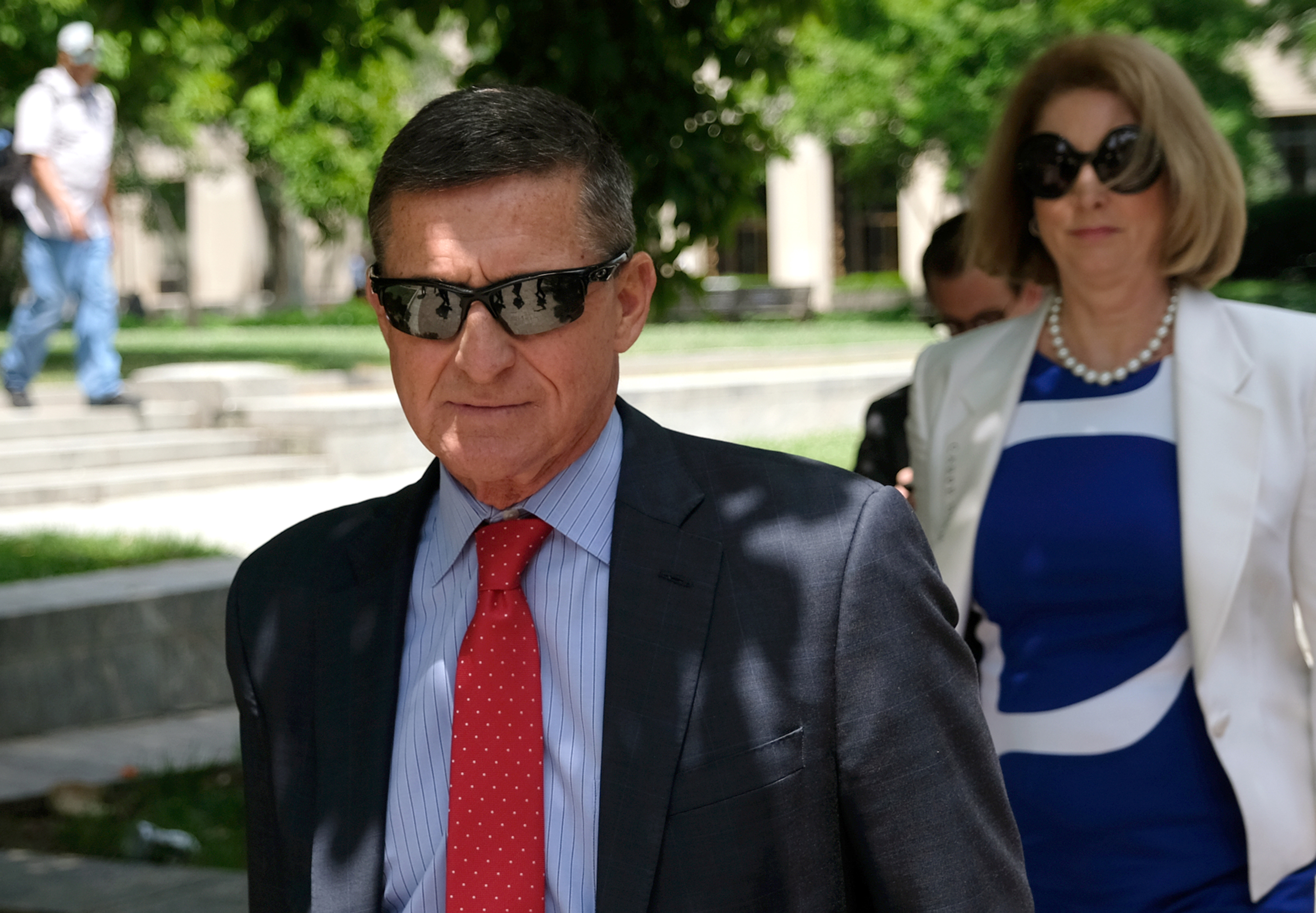 WASHINGTON, DC - JUNE 24: President Donald Trump's former National Security Adviser Michael Flynn leaves the E. Barrett Prettyman U.S. Courthouse on June 24, 2019 in Washington, DC. Criminal sentencing for Flynn will be on hold for at least another two months. (Photo by Alex Wroblewski/Getty Images)