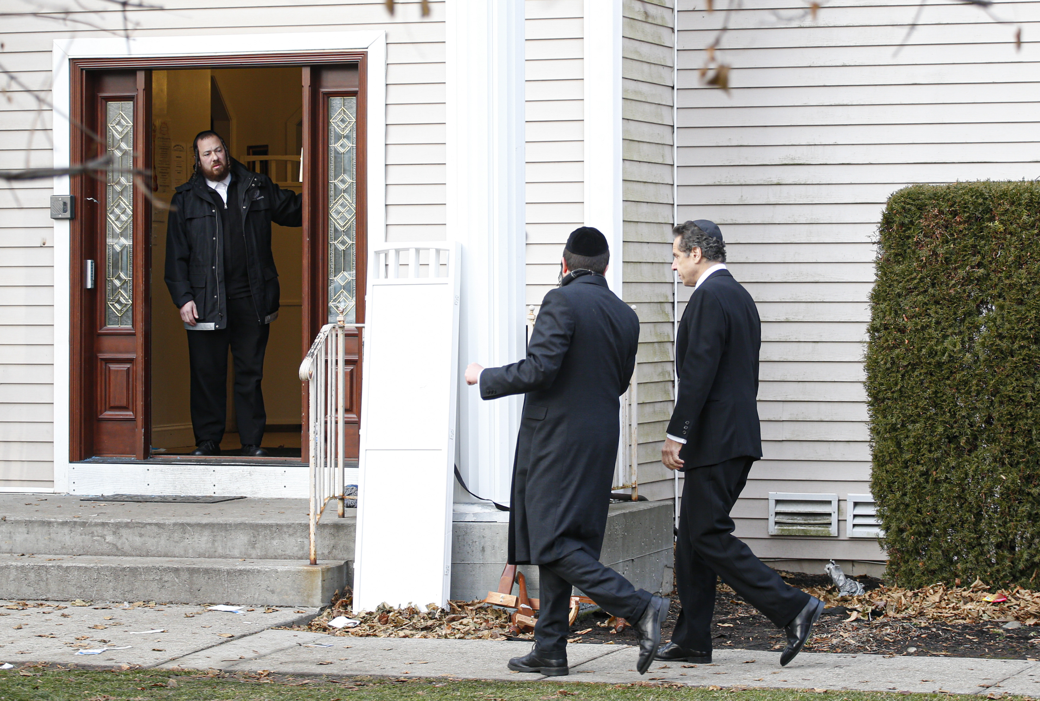 New York Governor Andrew Cuomo arrives to the home of rabbi, Chaim Rottenbergin Monsey, in New York on December 29, 2019 after a machete attack that took place earlier outside the rabbi's home during the Jewish festival of Hanukkah in Monsey, New York. (KENA BETANCUR/AFP via Getty Images)