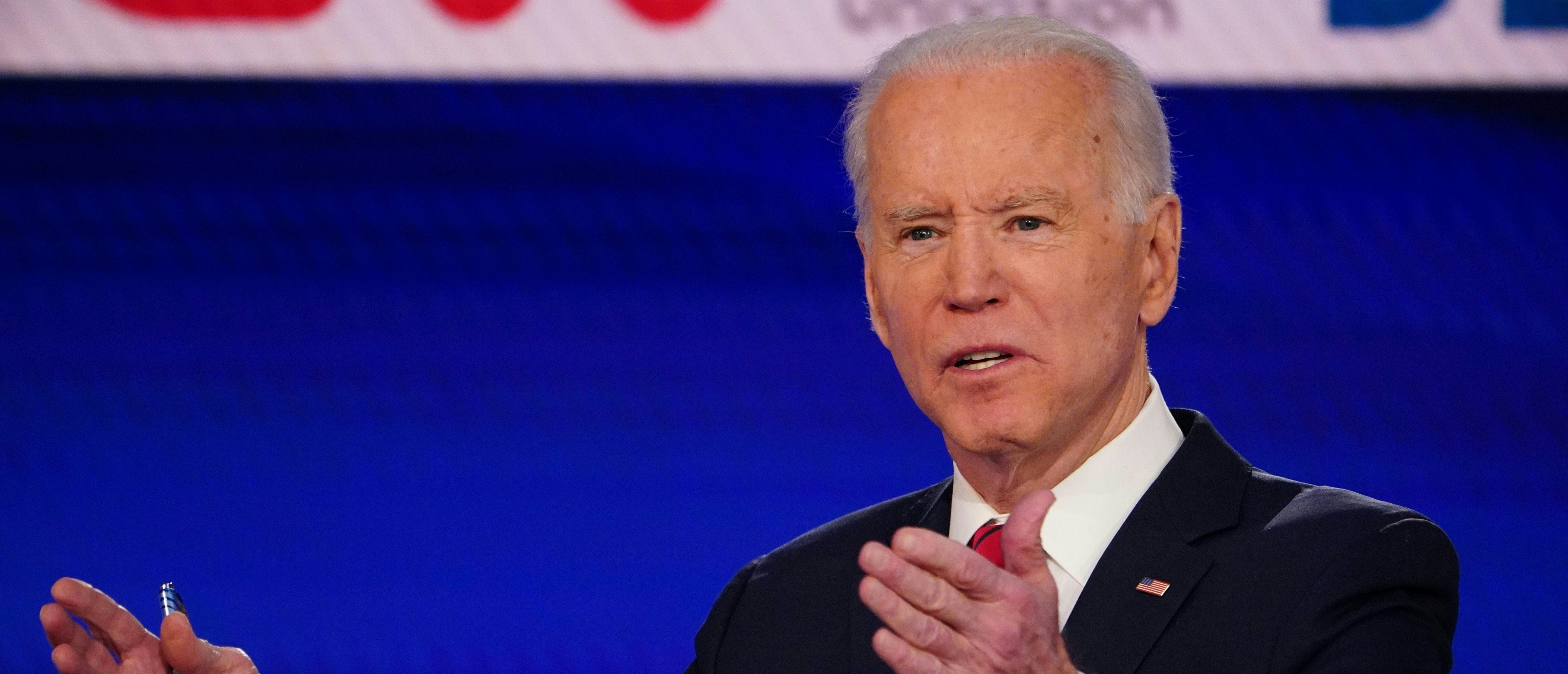 Democratic presidential hopeful former US vice president Joe Biden makes a point as he and Senator Bernie Sanders take part in the 11th Democratic Party 2020 presidential debate in a CNN Washington Bureau studio in Washington, DC on March 15, 2020. (Photo by MANDEL NGAN/AFP via Getty Images)