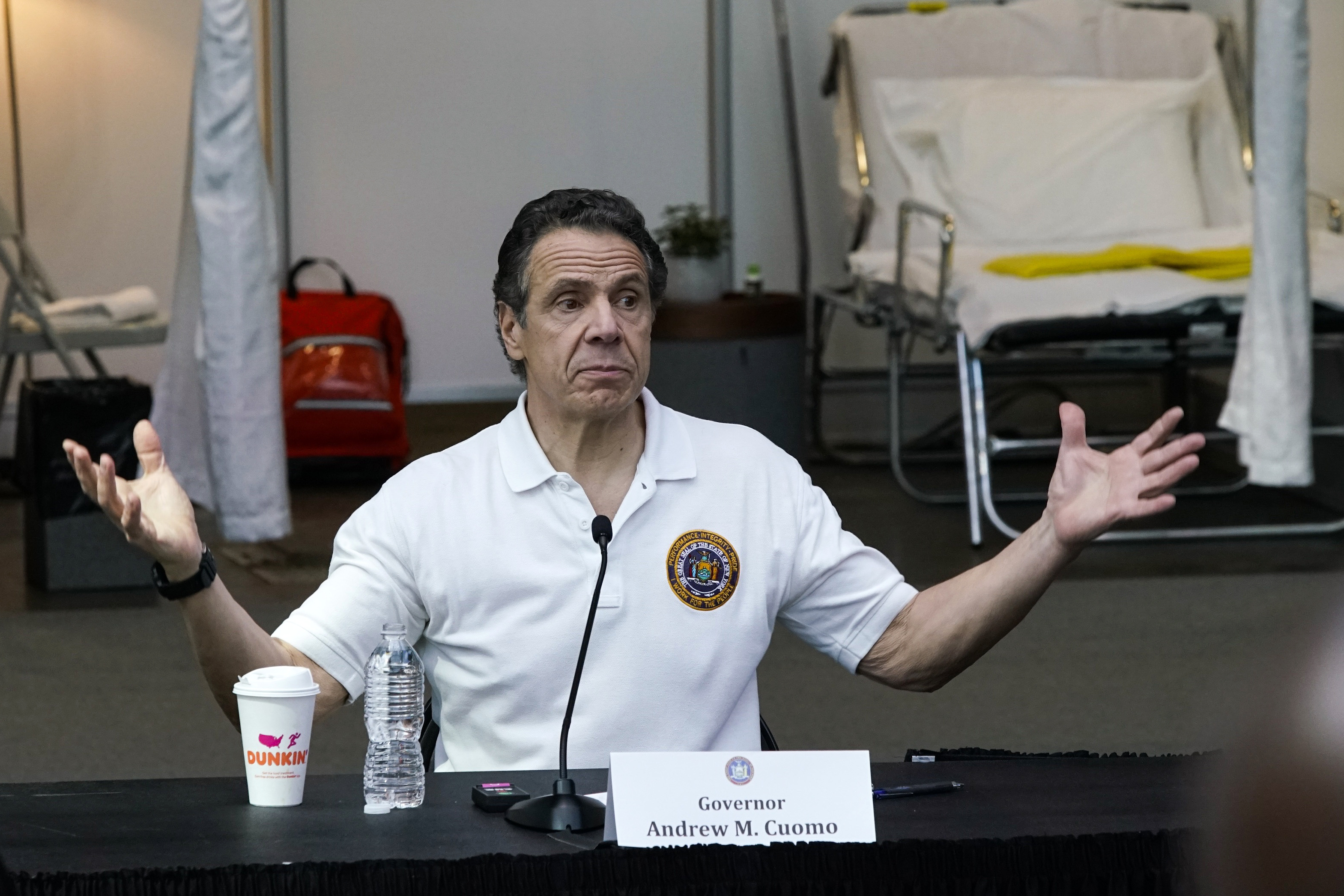 NEW YORK, NY - MARCH 27: New York Gov Andrew Cuomo gives a daily coronavirus press conference in front of media and National Guard members at the Jacob K. Javits Convention Center, which is being turned into a hospital to help fight coronavirus cases on March 27, 2020 in New York City. Cuomo will be requesting authorization for four additional hospital sites amid COVID-19 coronavirus outbreak. (Photo by Eduardo Munoz Alvarez/Getty Images)