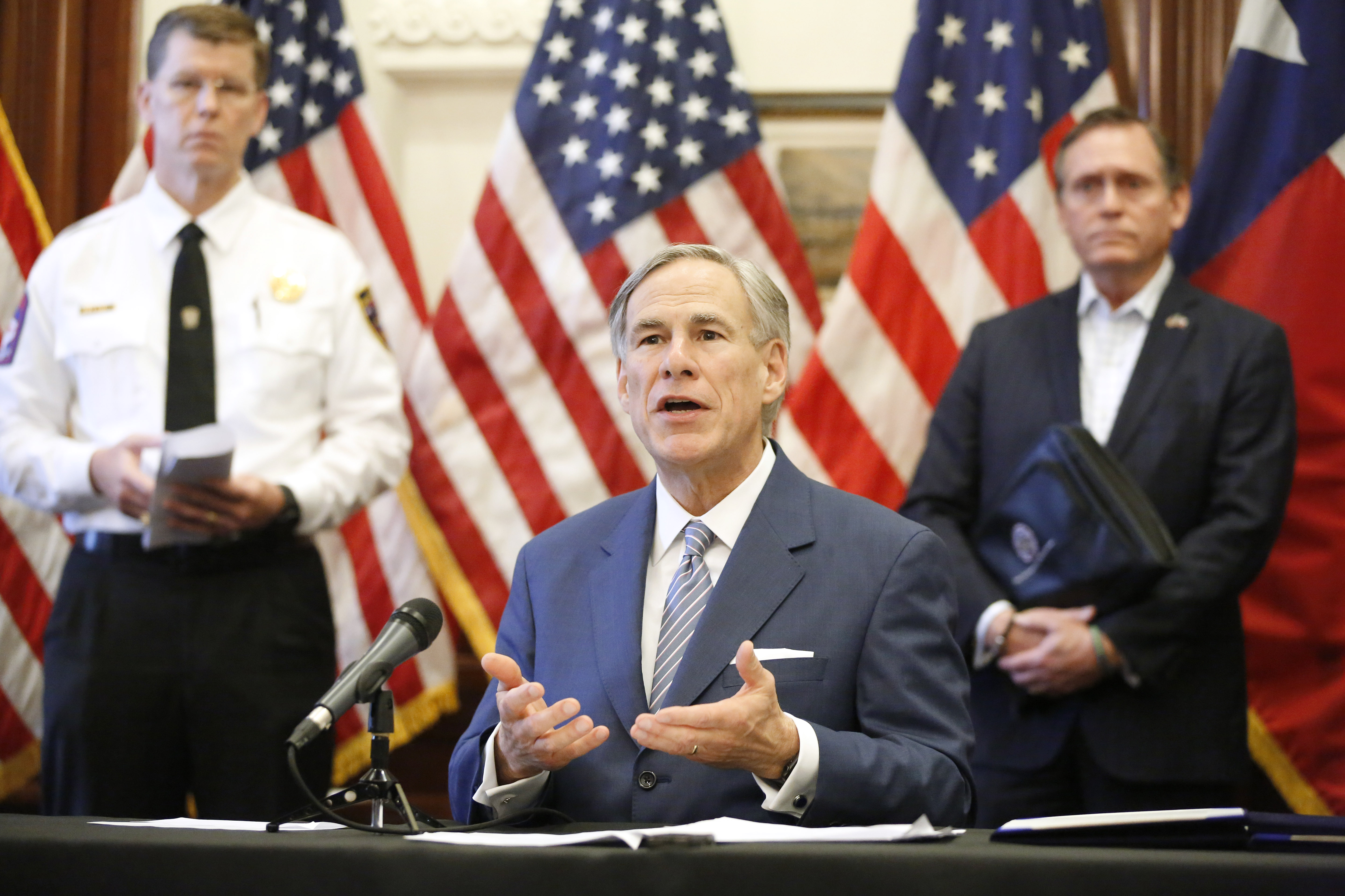 Texas Governor Greg Abbott announced the US Army Corps of Engineers and the state are putting up a 250-bed field hospital at the Kay Bailey Hutchison Convention Center in downtown Dallas during a press conference at the Texas State Capitol in Austin, Sunday, March 29, 2020. (Tom Fox-Pool/Getty Images)
