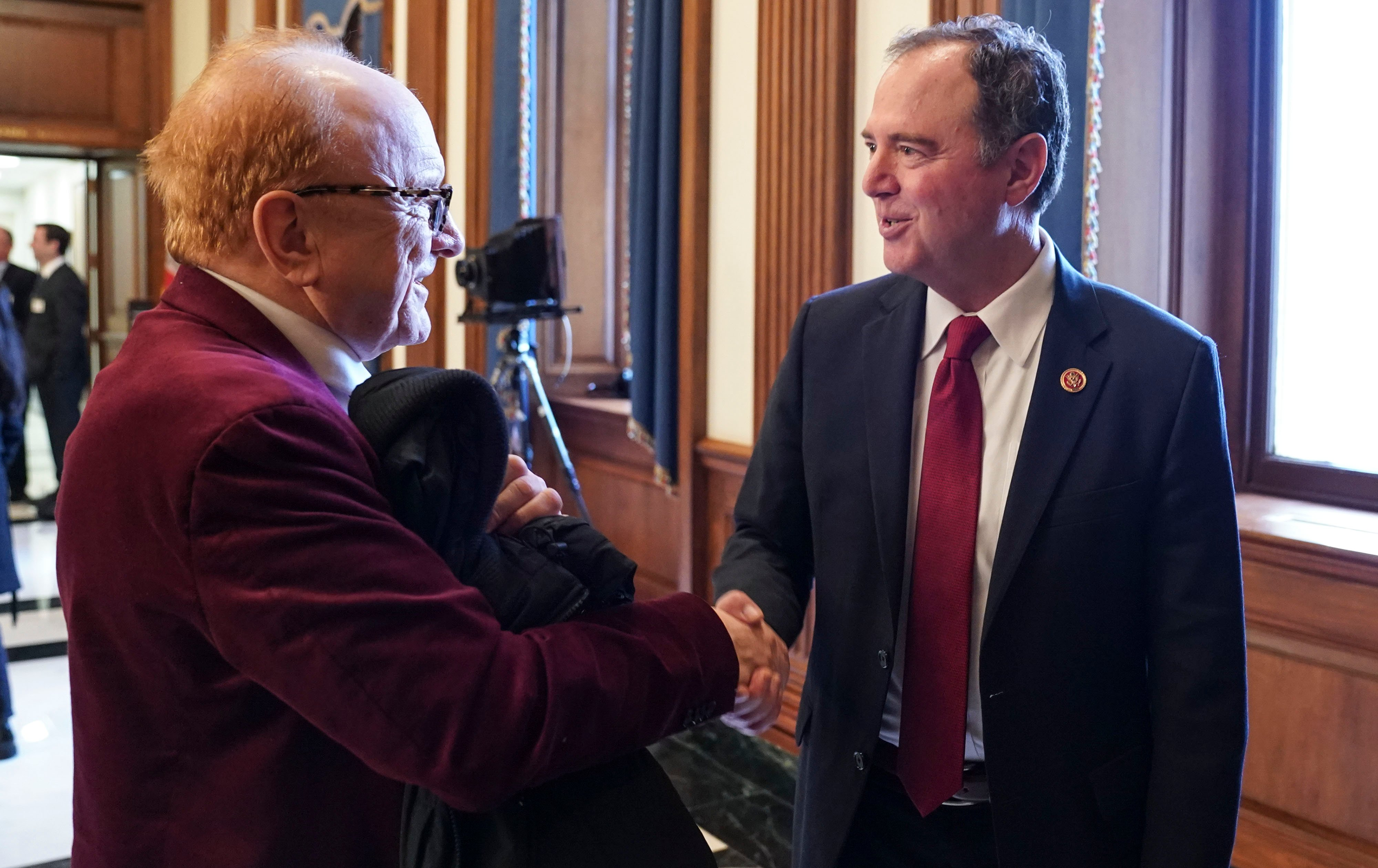 WASHINGTON, DC - FEBRUARY 26: Peter Asher speaks with Representative Adam Schiff (D-CA) on Capitol Hill on February 26, 2020 in Washington, DC. (Photo by Leigh Vogel/Getty Images for The Recording Academy)