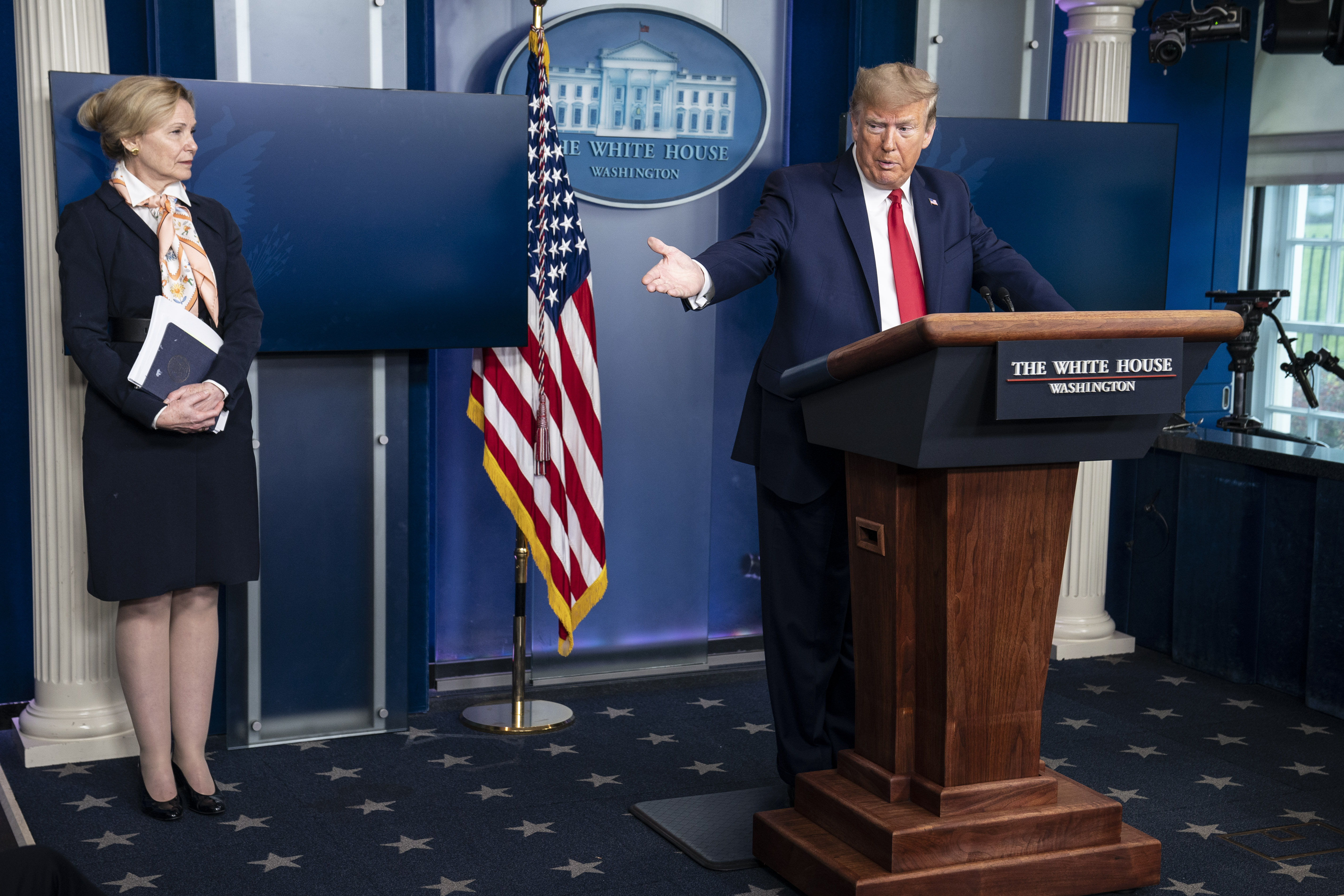 U.S. President Donald Trump delivers remarks during a press briefing with White House coronavirus response coordinator Deborah Birx, on April 18, 2020 in Washington, DC. (Sarah Silbiger/Getty Images)