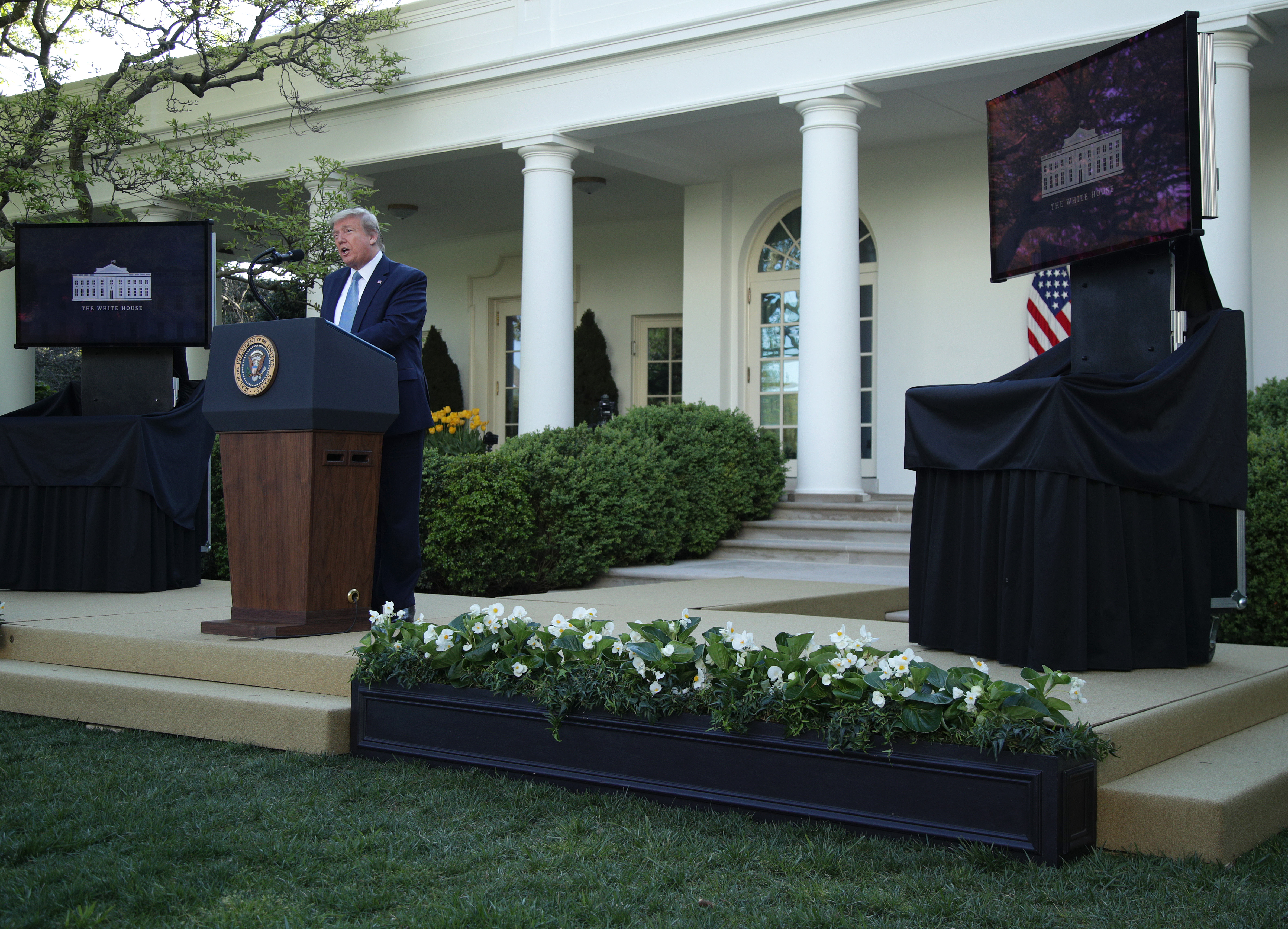 WASHINGTON, DC - APRIL 15: U.S. President Donald Trump speaks at the daily briefing of the White House Coronavirus Task Force in the Rose Garden at the White House April 15, 2020 in Washington, DC. The Treasury Department has ordered the IRS to put Trump's signature on the stimulus checks that are being sent to all Americans in response to the nation's shutdown due to the COVID-19 pandemic. (Photo by Alex Wong/Getty Images)