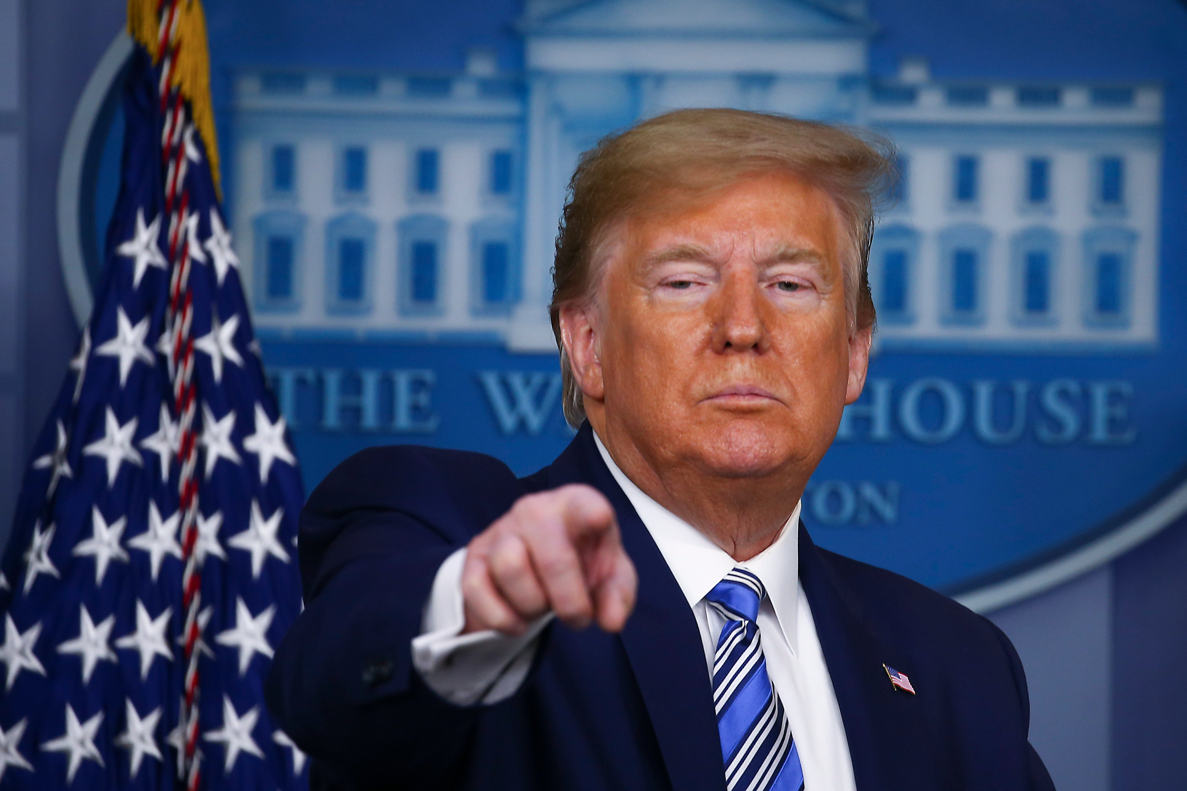 WASHINGTON, DC - APRIL 19: U.S. President Donald Trump takes questions at the daily coronavirus briefing at the White House on April 19, 2020 in Washington, DC. New York state will begin the nation's most aggressive COVID-19 antibody testing campaign this week even as some states begin to loosen restrictions amid pressure to restart the economy. (Photo by Tasos Katopodis/Getty Images)