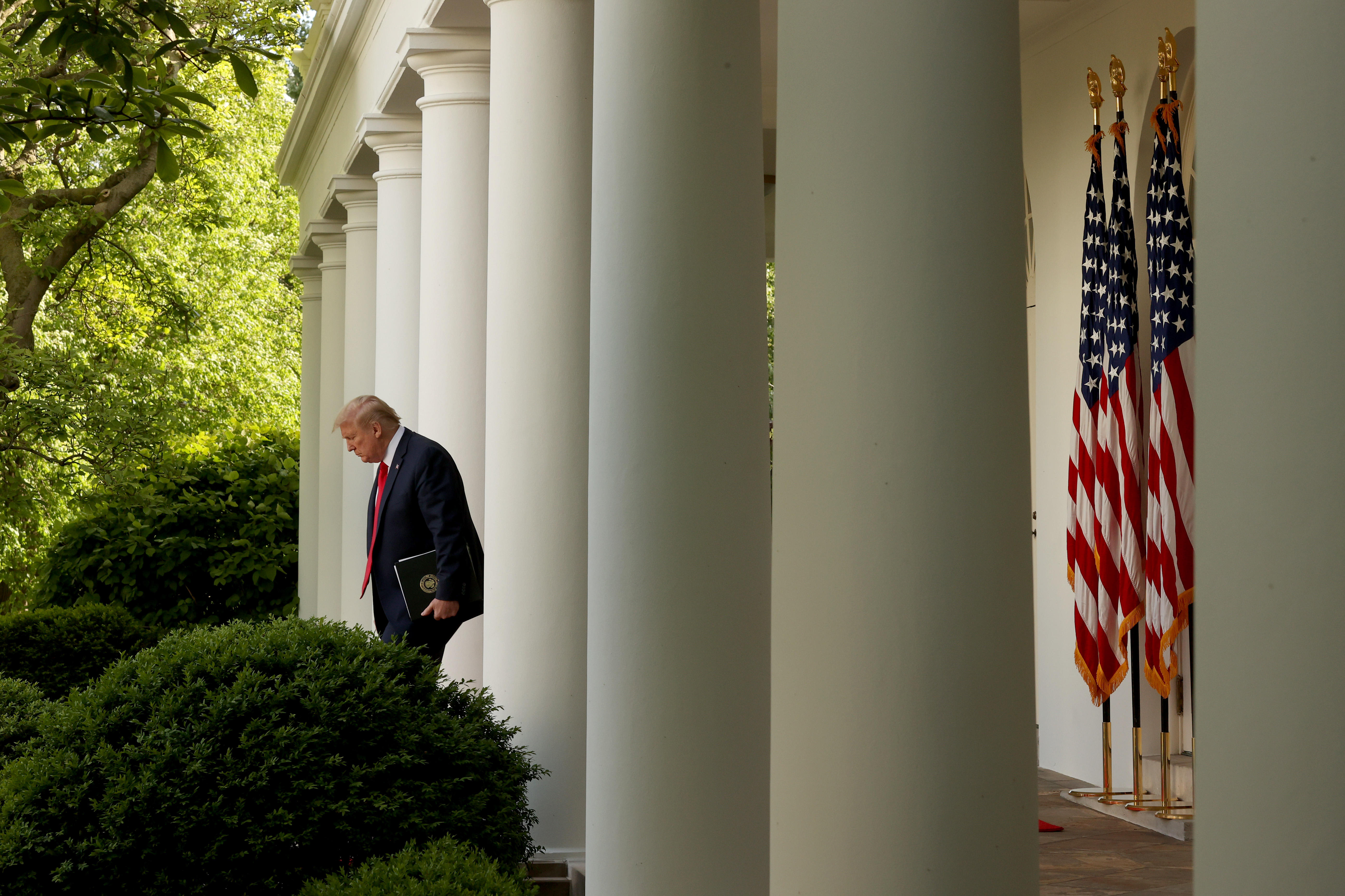 WASHINGTON, DC - APRIL 27: U.S. President Donald Trump walks out before the daily briefing of the coronavirus task force in the Rose Garden at the White House on April 27, 2020 in Washington, DC. Today's task force briefing is the first since Friday after not holding any over the weekend. (Photo by Win McNamee/Getty Images)