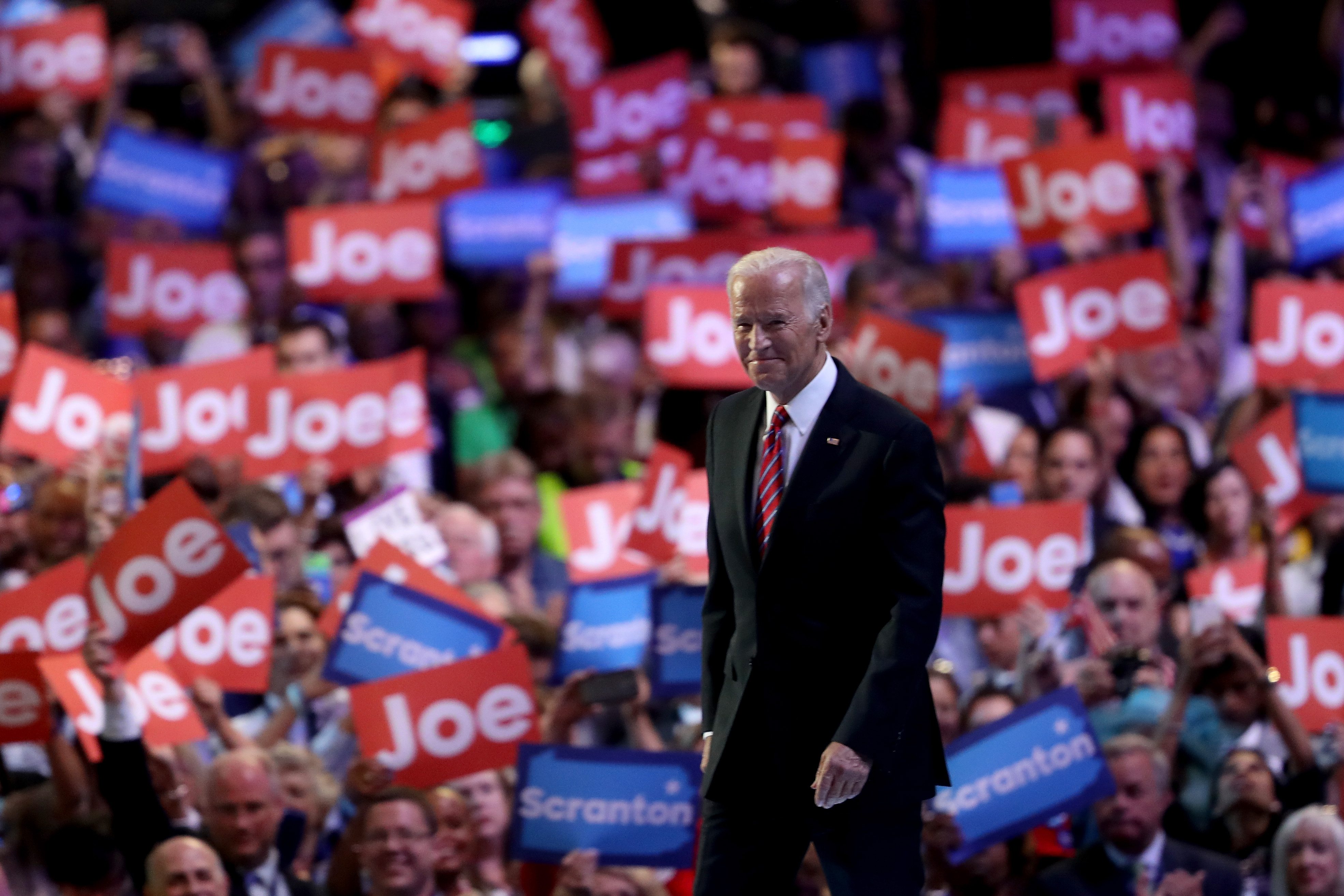 PHILADELPHIA, PA - JULY 27: US Vice President Joe Biden acknowledges the crowd after delivering remarks on the third day of the Democratic National Convention at the Wells Fargo Center, July 27, 2016 in Philadelphia, Pennsylvania. Democratic presidential candidate Hillary Clinton received the number of votes needed to secure the party's nomination. An estimated 50,000 people are expected in Philadelphia, including hundreds of protesters and members of the media. The four-day Democratic National Convention kicked off July 25. (Photo by Justin Sullivan/Getty Images)