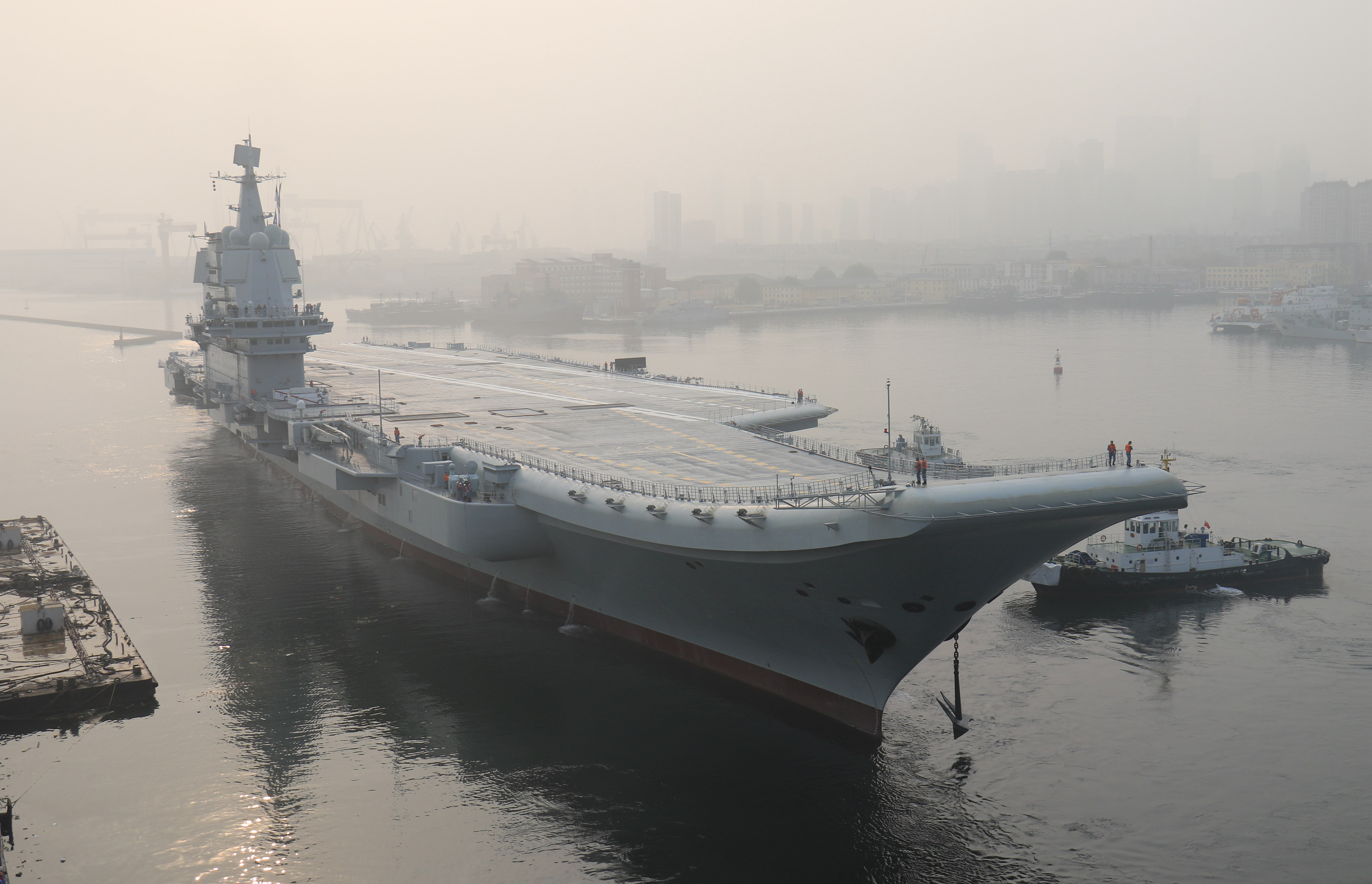 "China's first domestically manufactured aircraft carrier, known only as ""Type 001A"", leaves port in the northeast city of Dalian early on May 13, 2018.(Photo by - / AFP) / China OUT via Getty Images)"