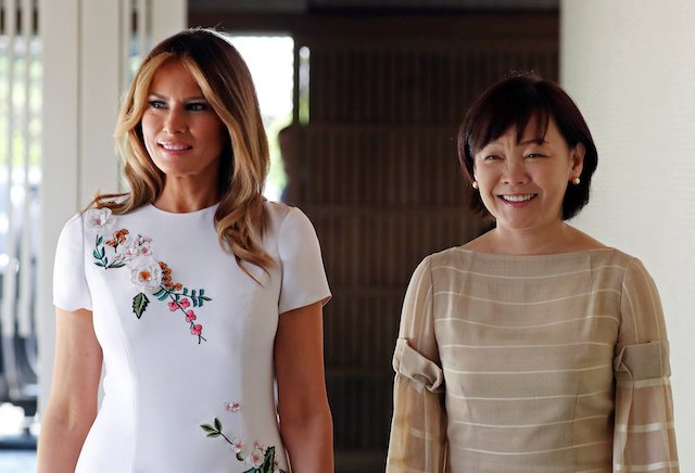 U.S. first lady Melania Trump and Akie Abe, wife of Japanese Prime Minister Shinzo Abe, smile while walking together at Akasaka State Guest House in Tokyo, Japan May 27, 2019. REUTERS/Athit Perawongmetha