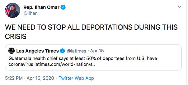 Ilhan Omar Tweet. 4/16/20