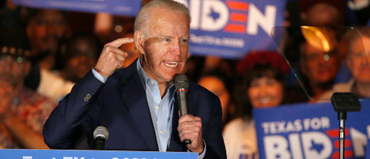 DALLAS, TX - MARCH 02: Democratic presidential candidate former Vice President Joe Biden speaks during a campaign event on March 2, 2020 in Dallas, Texas. Biden continues to campaign before the upcoming Super Tuesday Democratic presidential primaries. (Photo by Ron Jenkins/Getty Images)