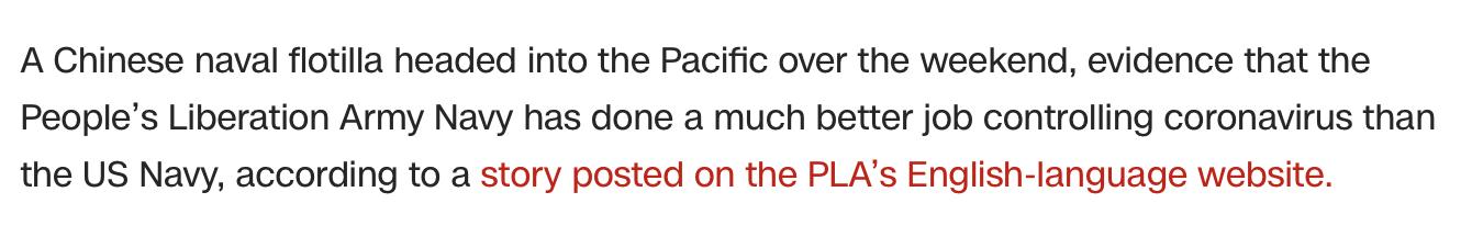 CNN's article closely mimicked PLA's report. (Screenshot CNN, https://edition.cnn.com/world/live-news/coronavirus-pandemic-04-13-20/h_56789fcd84e51ac3bc5f96a325cfdb72)
