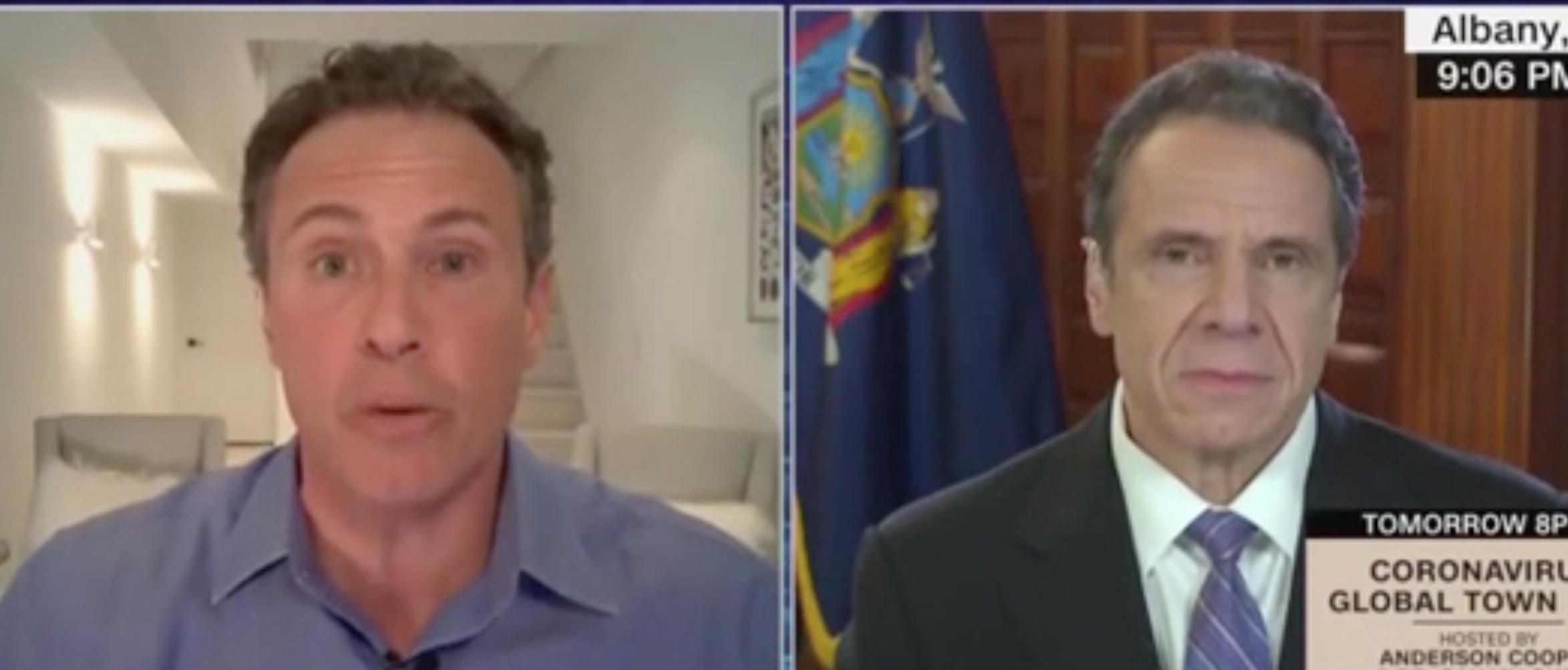 Chris Cuomo and Andrew Cuomo appear on CNN. Screenshot/CNN