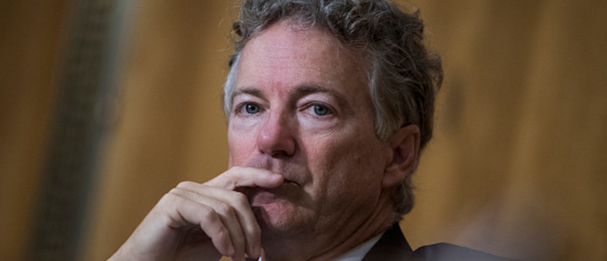 UNITED STATES - APRIL 12: Sen. Rand Paul, R-Ky., attends the Senate Foreign Relations Committee confirmation hearing for CIA Director Mike Pompeo, nominee for secretary of state, in Dirksen Building on April 12, 2018. (Photo By Tom Williams/CQ Roll Call)