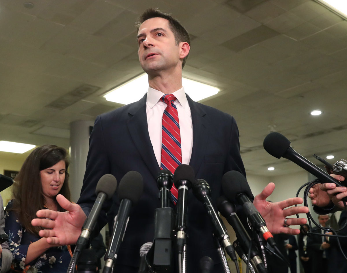 WASHINGTON, DC - JANUARY 08: Sen. Tom Cotton (R-AR) speaks to the media after attending a briefing with administration officials about the situation with Iran, at the U.S. Capitol on January 8, 2020 in Washington, DC. Members of the House and the Senate were briefed by Secretary of State Mike Pompeo, Secretary of Defense Mark Esper, Chair of the Joint Chiefs of Staff Mark Milley, CIA Director Gina Haspel and Acting Director of National Intelligence Joseph Maguire. In response to the U.S. killing of Iranian General Qasem Soleimani, Iranian forces launched more than a dozen ballistic missiles against two military bases in Iraq early Wednesday local time. (Photo by Mark Wilson/Getty Images)