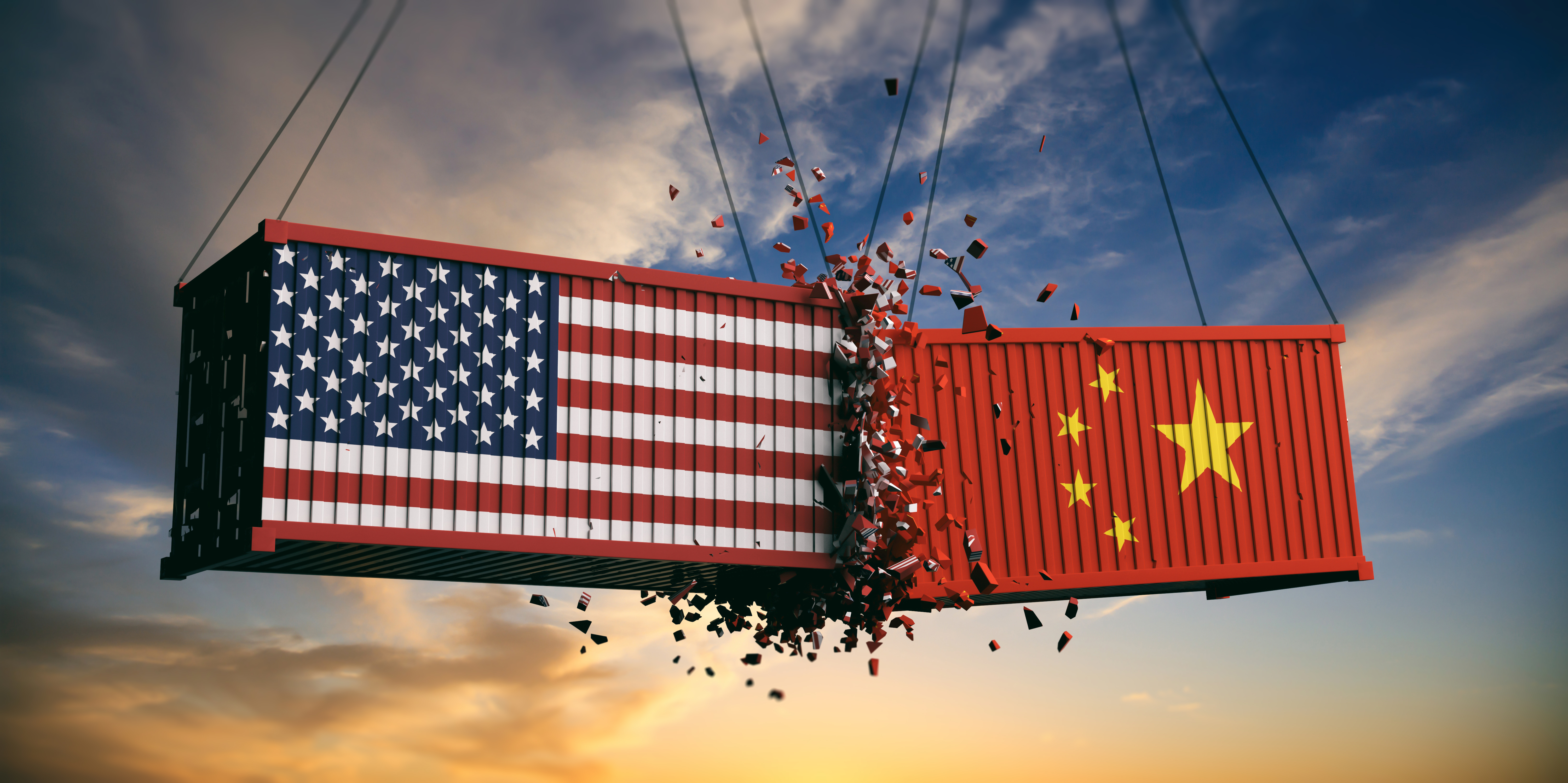 USA and China trade war. US of America and chinese flags crashed containers on sky at sunset background. 3d illustration (Shutterstock/rawf8)