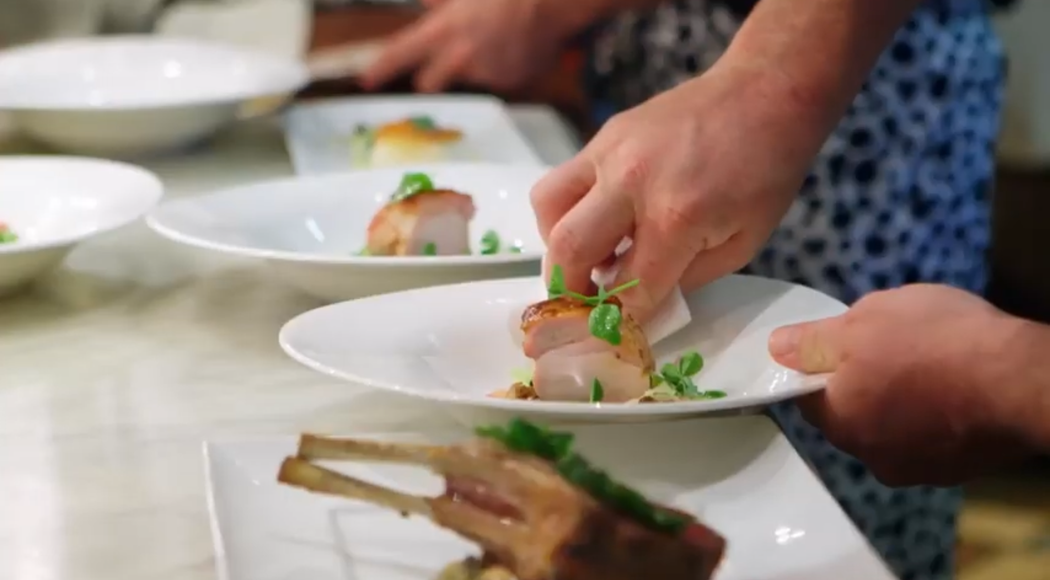 Dishes being prepared at the Inn at Little Washington. (YouTube/Screenshot/PBS FOOD)