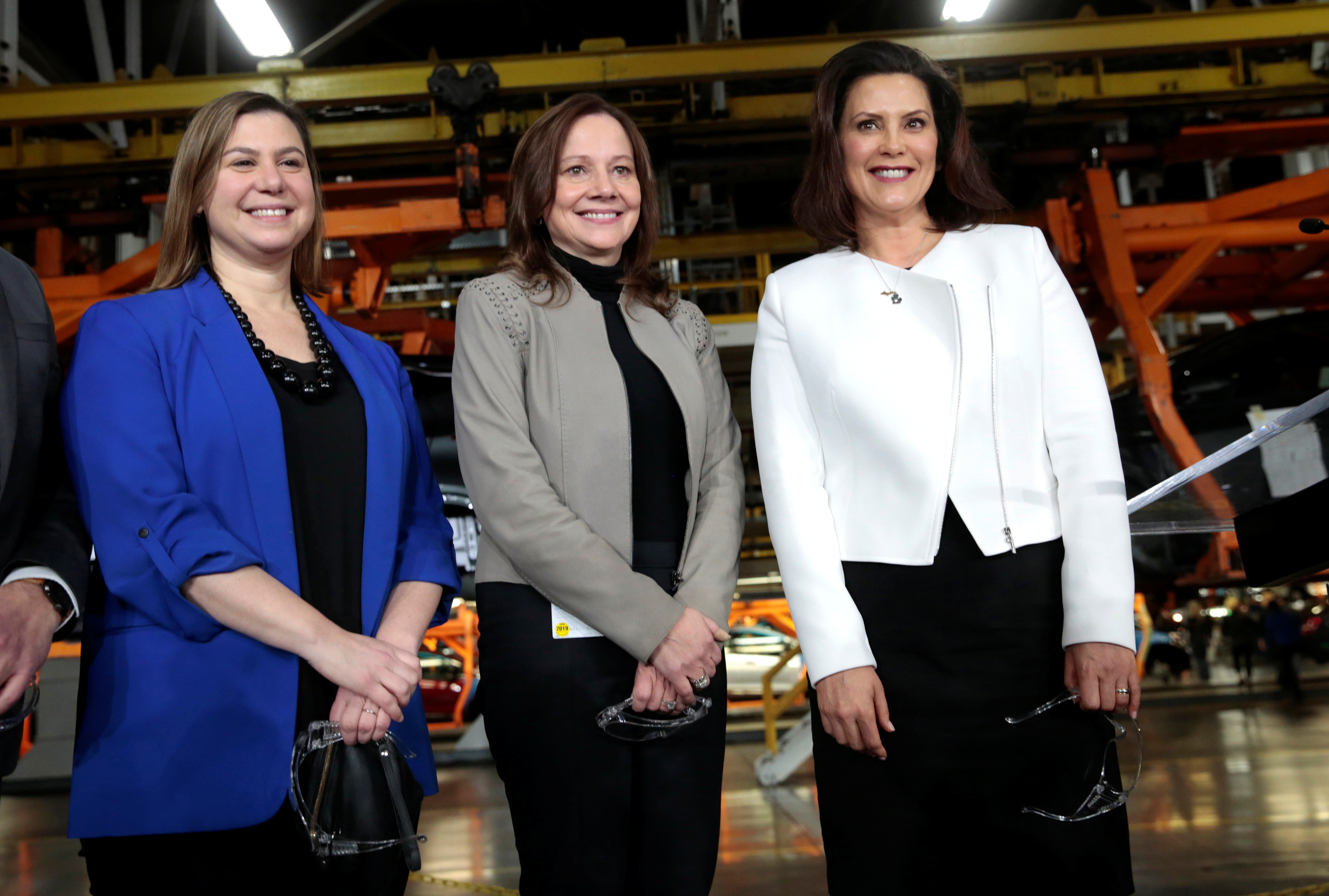General Motors Chief Executive Officer Mary Barra poses with Democratic Representative Elissa Slotkin and Michigan Governor Gretchen Whitmer at the GM Orion Assembly Plant in Lake Orion, Michigan, U.S. March 22, 2019. REUTERS/Rebecca Cook