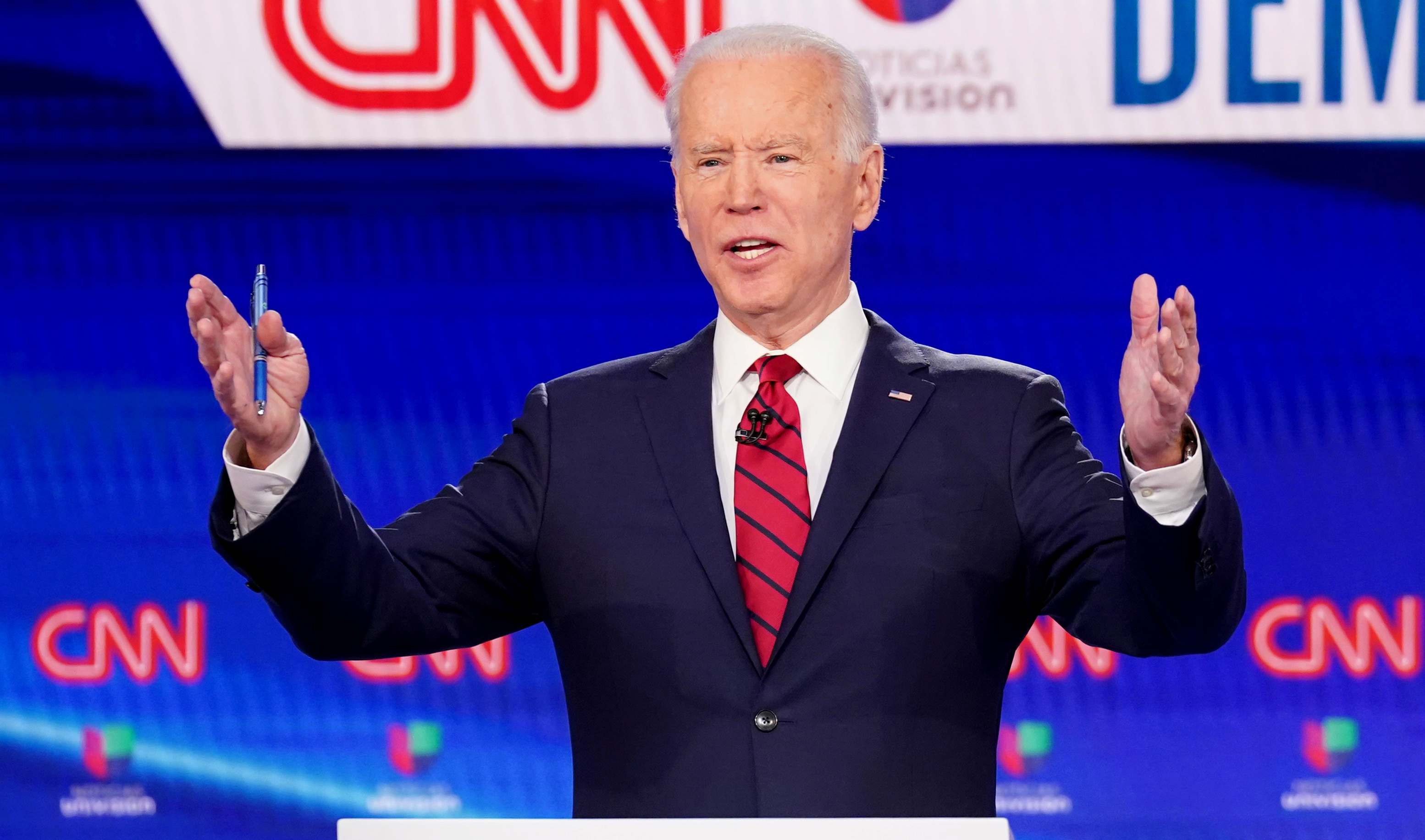 FILE PHOTO: Democratic U.S. presidential candidate and former Vice President Joe Biden speaks during the 11th Democratic candidates debate of the 2020 U.S. presidential campaign, held in CNN's Washington studios without an audience because of the global coronavirus pandemic, in Washington, U.S., March 15, 2020. REUTERS/Kevin Lamarque