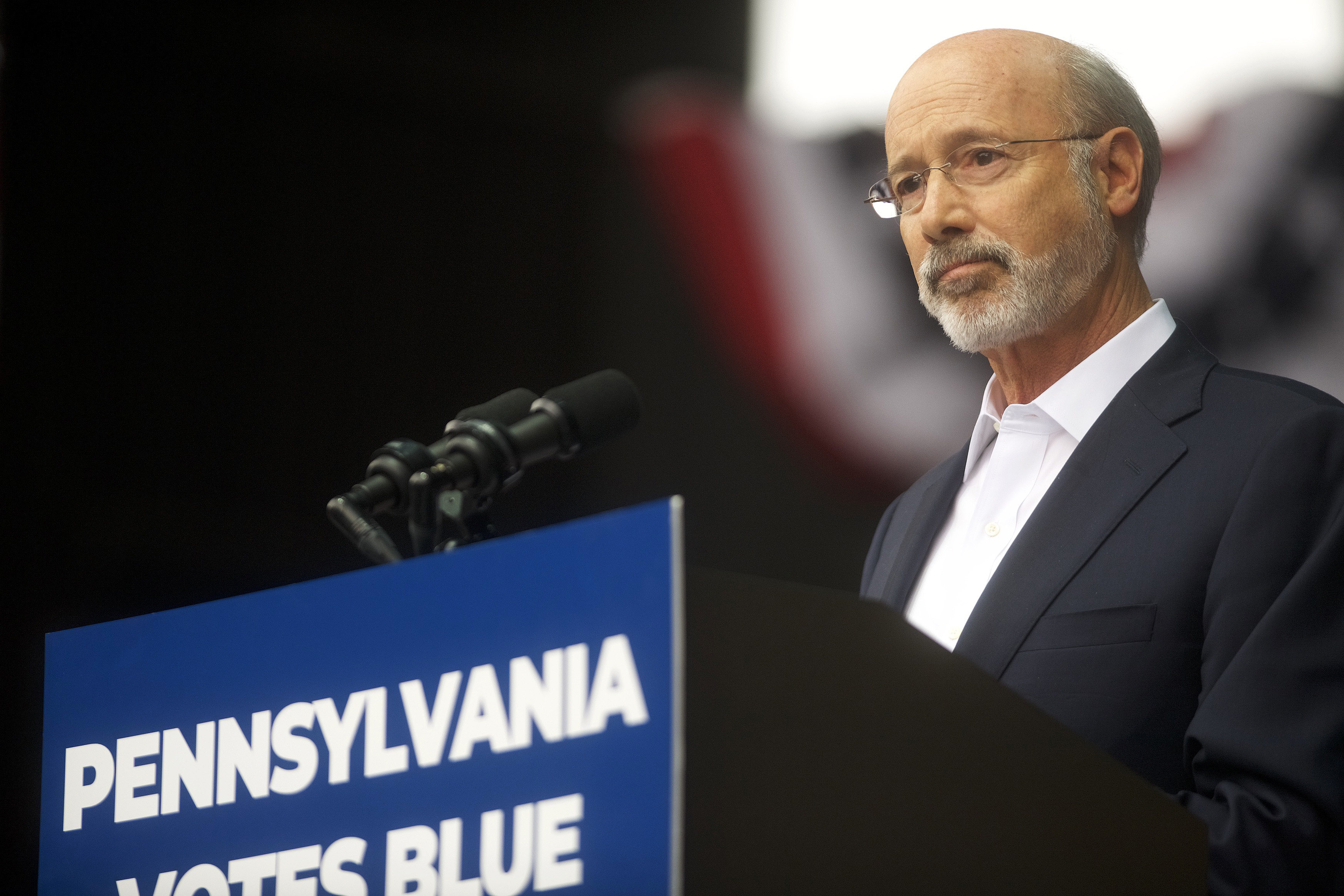 Pennsylvania Governor Tom Wolf addresses supporters before former President Barack Obama speaks during a campaign rally for statewide Democratic candidates on September 21, 2018 in Philadelphia, Pennsylvania. (Photo by Mark Makela/Getty Images)
