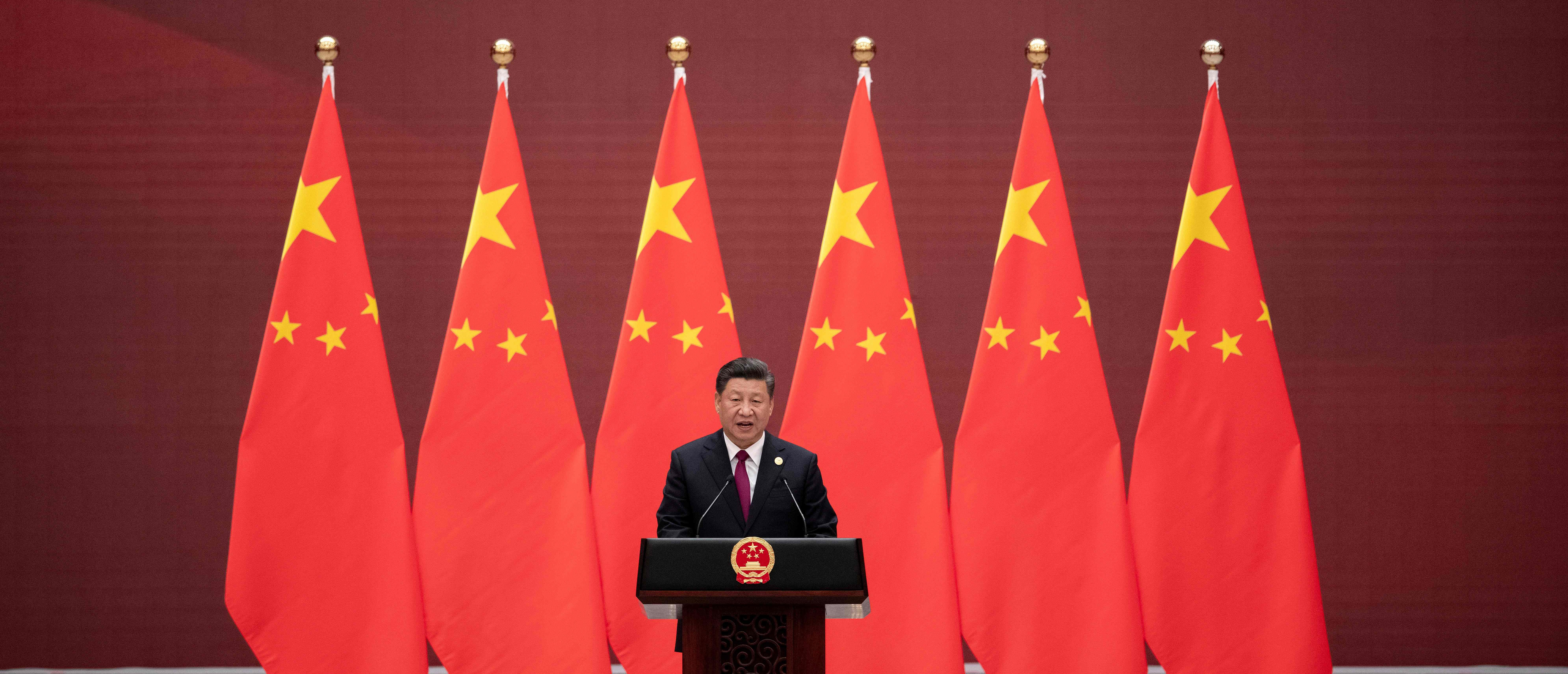 China's President Xi Jinping gives a speech during the welcome banquet for leaders attending the Belt and Road Forum at the Great Hall of the People in Beijing on April 26, 2019. (Photo: NICOLAS ASFOURI/AFP via Getty Images)