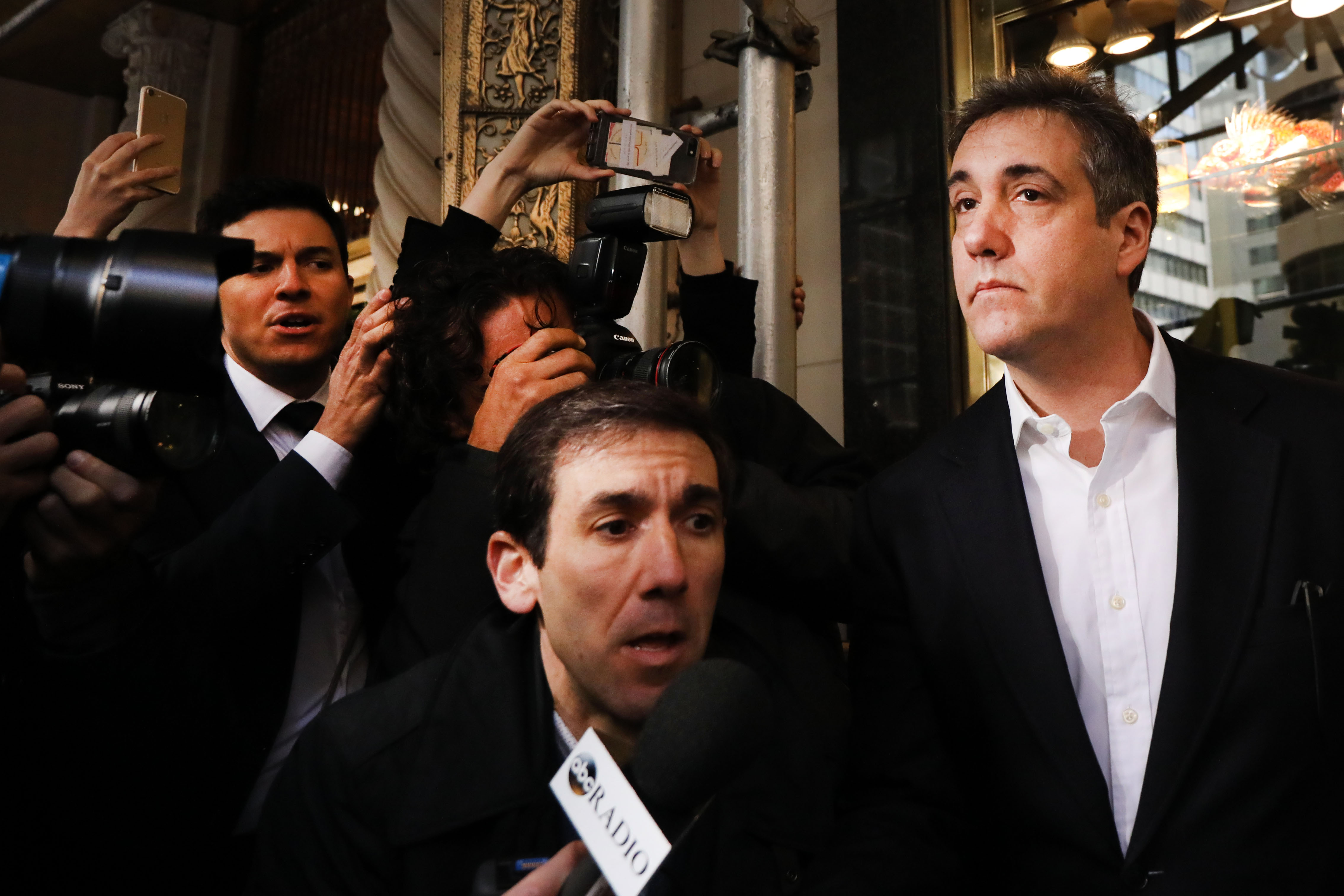 NEW YORK, NEW YORK - MAY 06: Michael Cohen (R), the former personal attorney to President Donald Trump, departs his Manhattan apartment for prison on May 06, 2019 in New York City. Cohen is due to report to a federal prison in Otisville, New York, where he will begin serving a three-year sentence for campaign finance violations, tax evasion and other crimes. (Photo by Spencer Platt/Getty Images)
