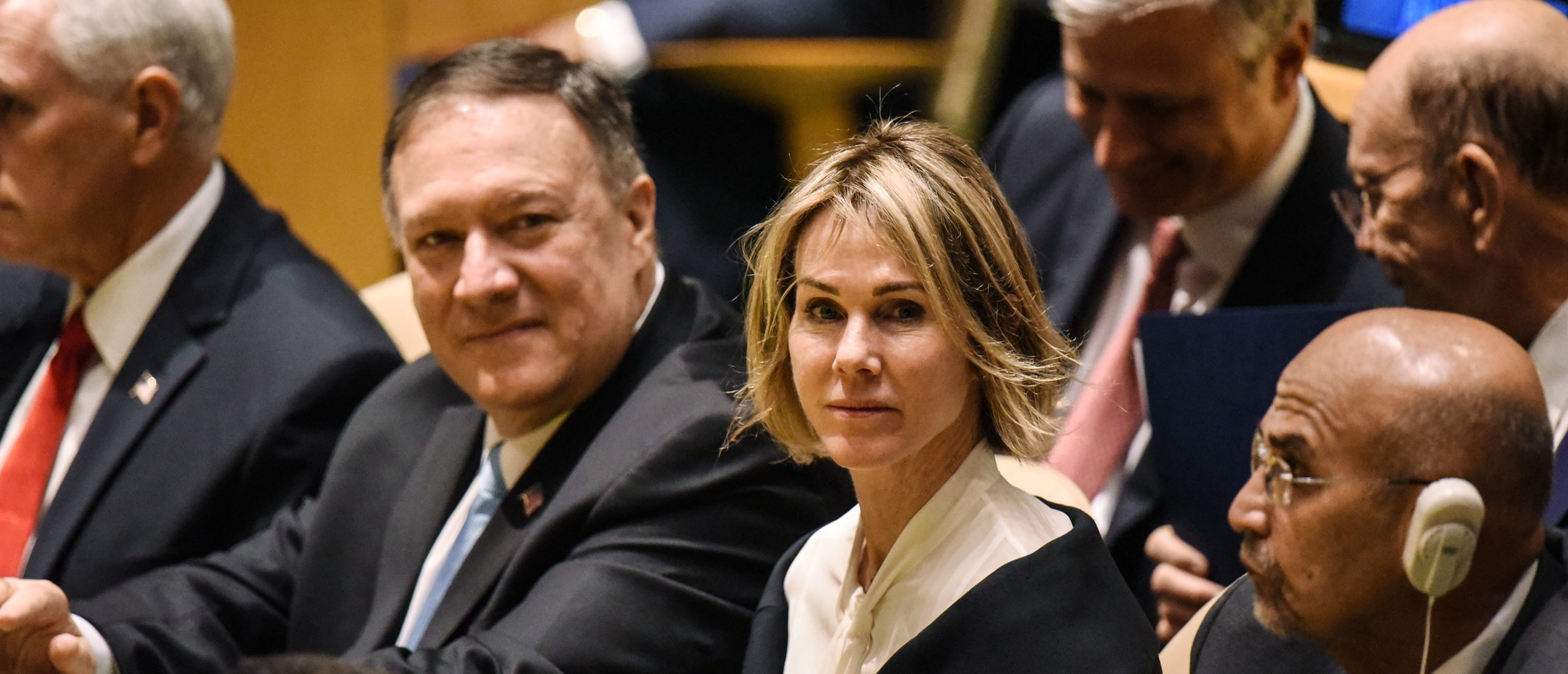 NEW YORK, NY - SEPTEMBER 24: U.S. Secretary of State Mike Pompeo (R) and U.S. Ambassador to the U.N. Kelly Craft attend the United Nations (U.N.) General Assembly on September 24, 2019 in New York City. World leaders are gathered for the 74th session of the UN amid a warning by Secretary-General Antonio Guterres in his address yesterday of the looming risk of a world splitting between the two largest economies - the U.S. and China. (Photo by Stephanie Keith/Getty Images)