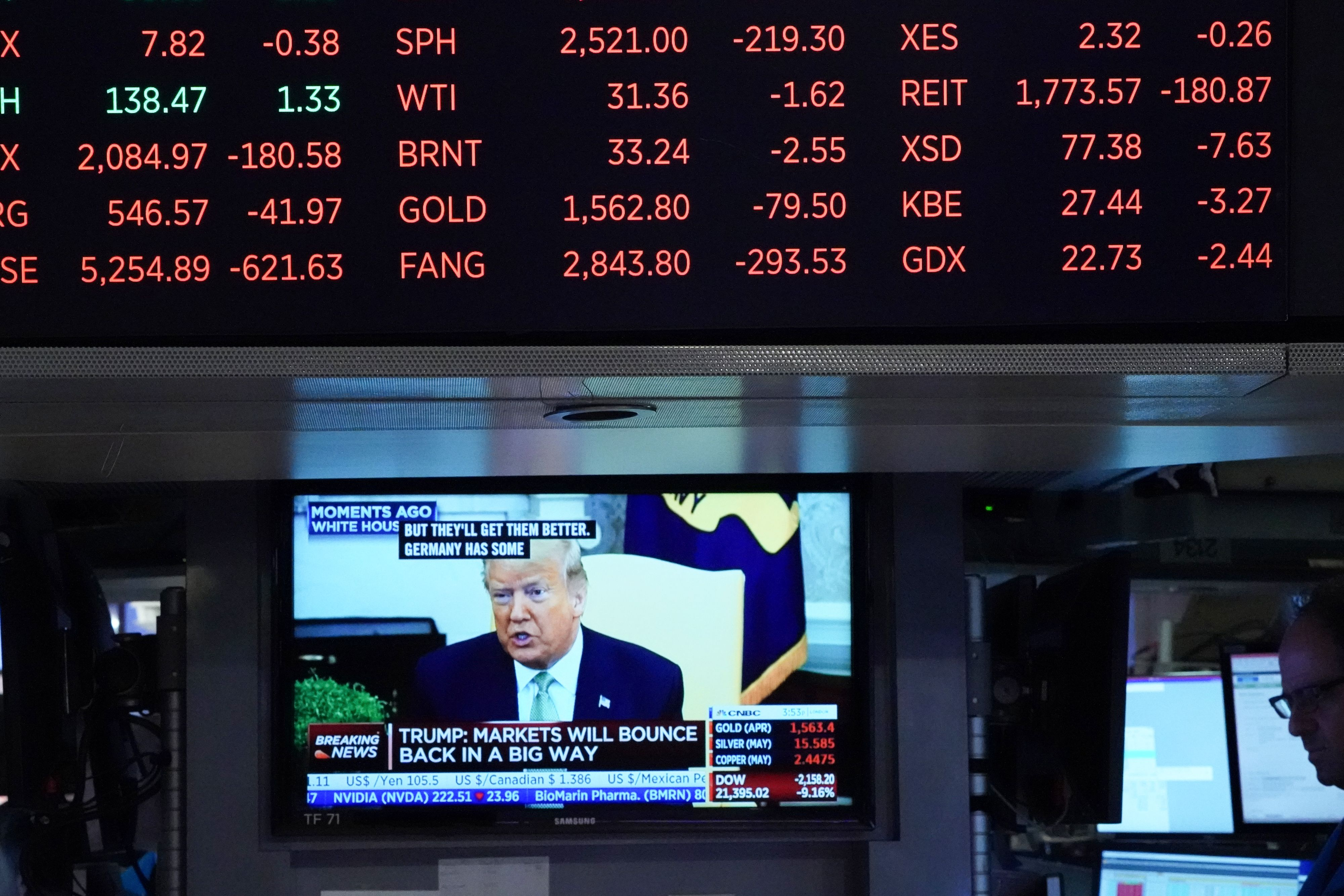 President Donald Trump speaks on television from the White House as stock numbers are displayed on the floor of the New York Stock Exchange on March 12, 2020 in New York. (BRYAN R. SMITH/AFP via Getty Images)