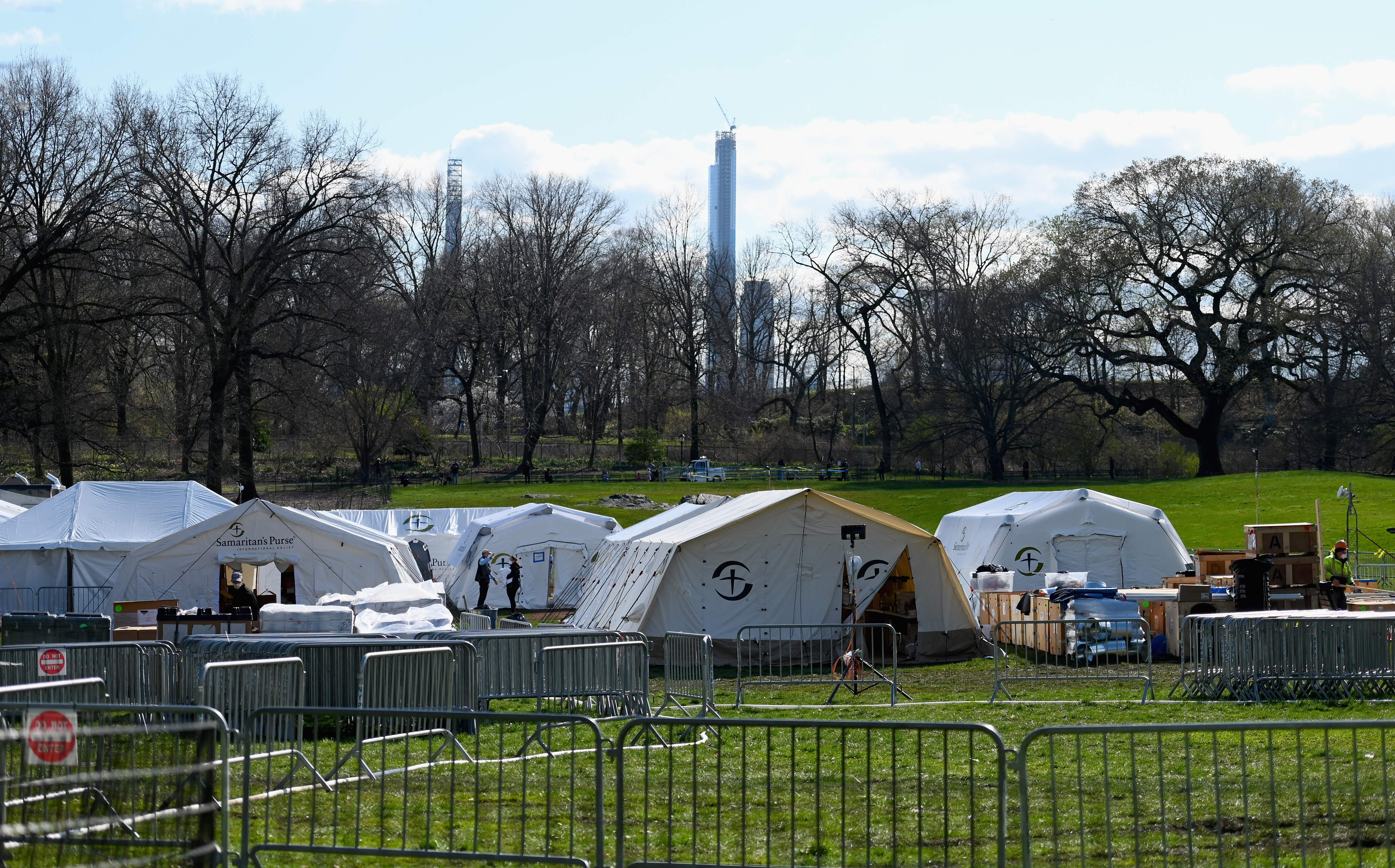 View of the International Christian relief organization Samaritans Purse Emergency Field Hospital in Central Park across Fifth Avenue from Mt. Sinai Hospital on April 1, 2020 in New York. (Photo by ANGELA WEISS/AFP via Getty Images)