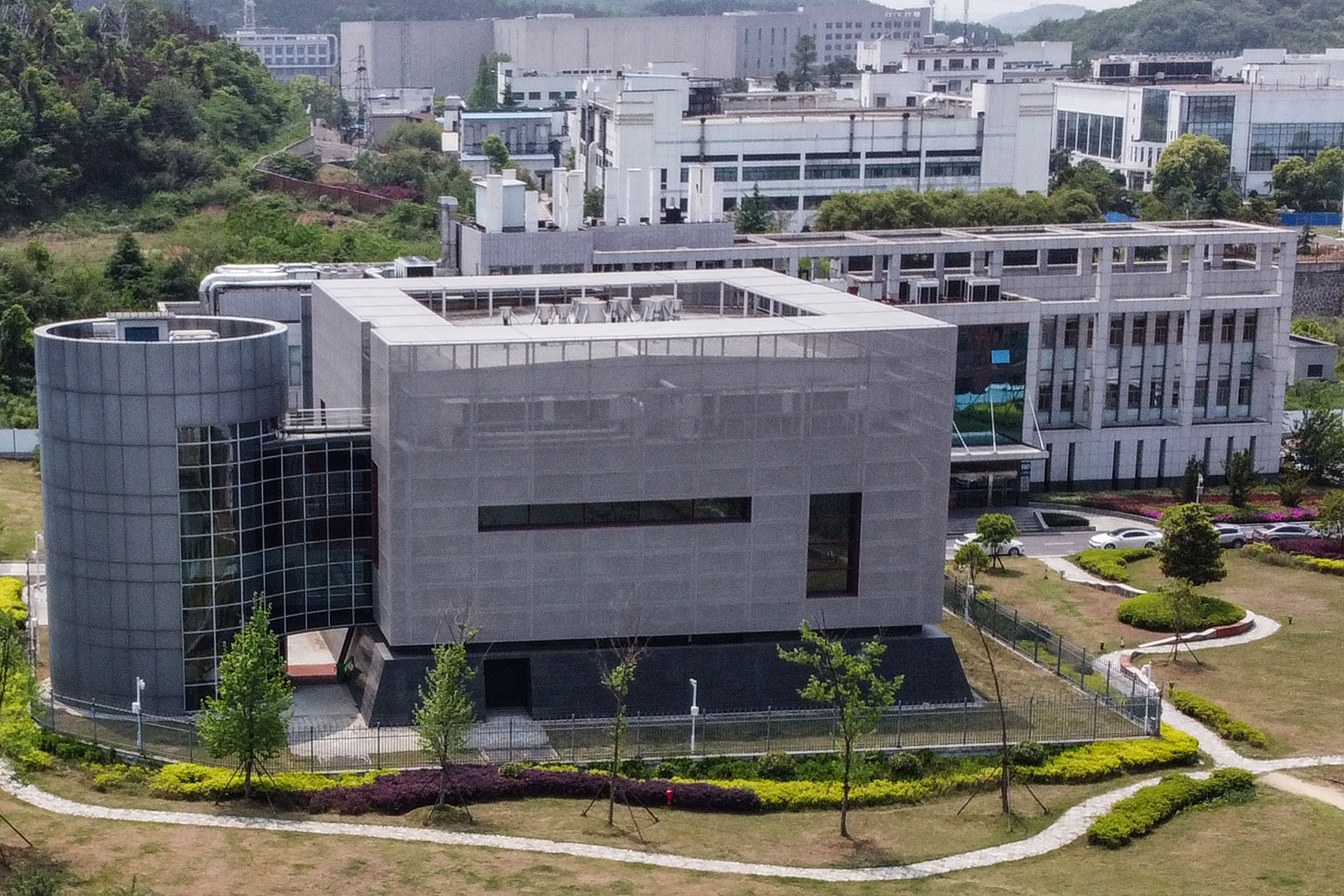 An aerial view shows the P4 laboratory at the Wuhan Institute of Virology in Wuhan in China's central Hubei province on April 17, 2020. (Photo by HECTOR RETAMAL/AFP via Getty Images)