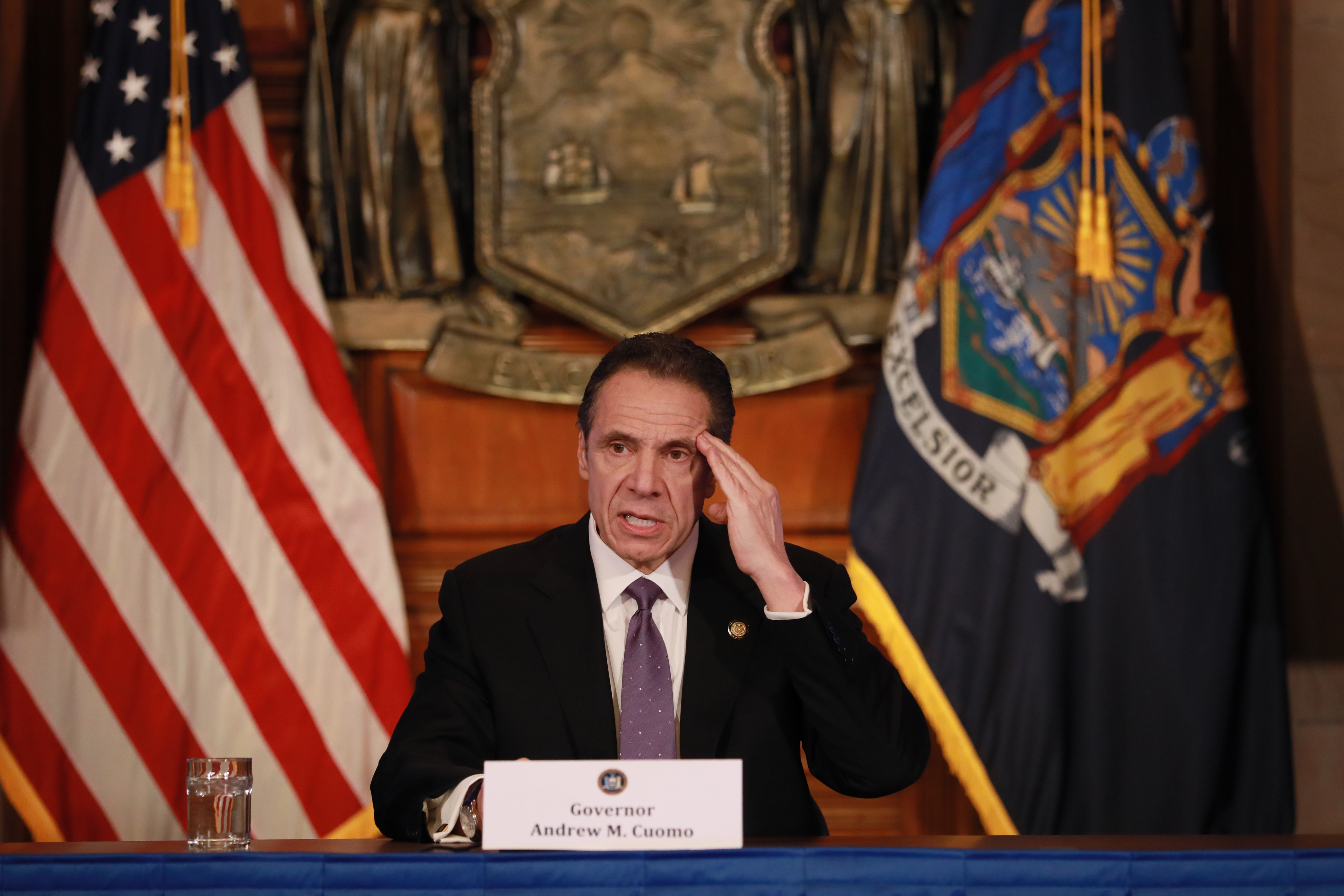 New York Governor Andrew Cuomo gives his a press briefing about the coronavirus crisis on April 17, 2020 in Albany, New York. (Photo by Matthew Cavanaugh/Getty Images)