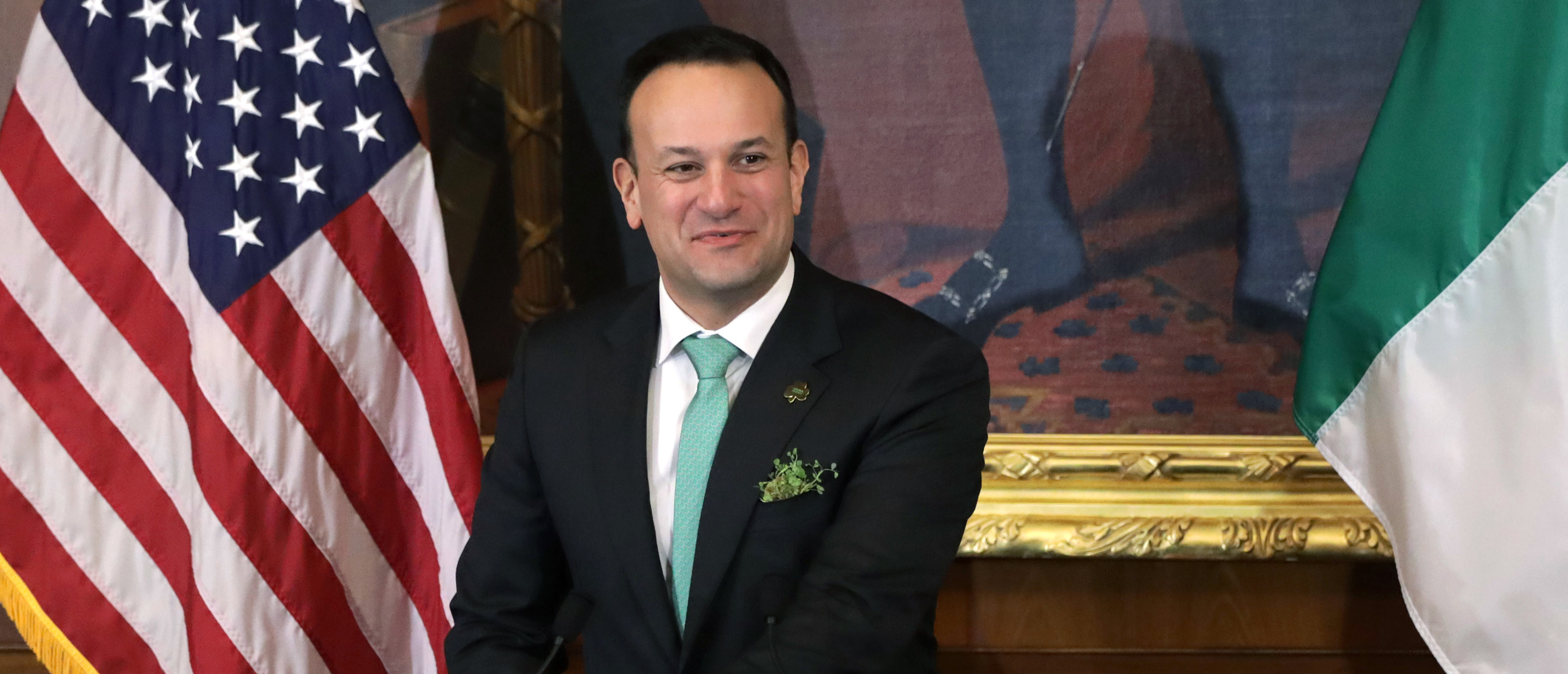 WASHINGTON, DC - MARCH 12: Irish Taoiseach Leo Varadkar speaks during the annual Friends of Ireland luncheon at the Rayburn Room of U.S. Capitol March 12, 2020 in Washington, DC. The Congressional Friends of Ireland hosted the annual luncheon to mark St. Patrick's Day. (Photo by Alex Wong/Getty Images)