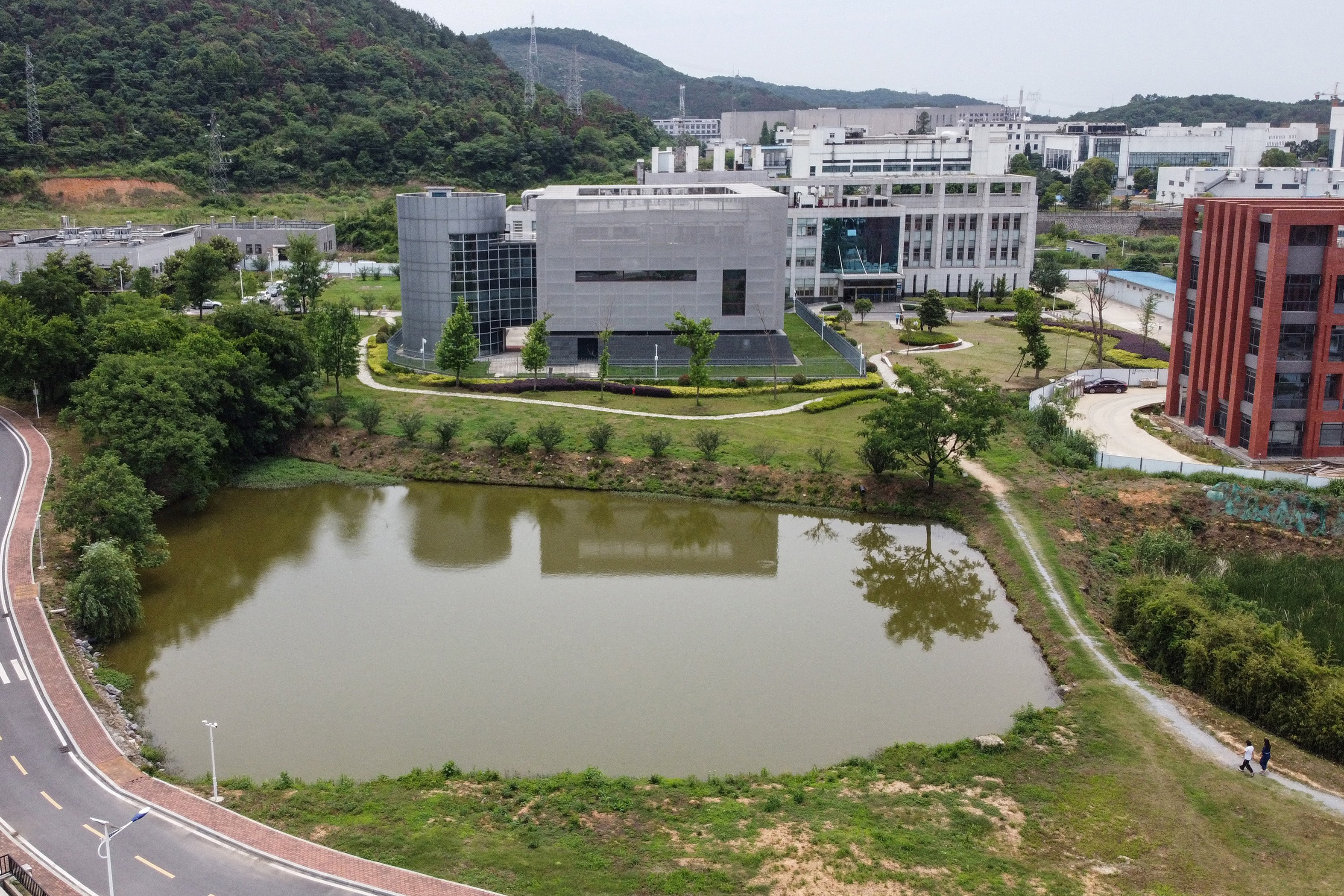 This aerial view shows the P4 laboratory (C) on the campus of the Wuhan Institute of Virology in Wuhan in China's central Hubei province on May 13, 2020. (Photo by HECTOR RETAMAL/AFP via Getty Images)