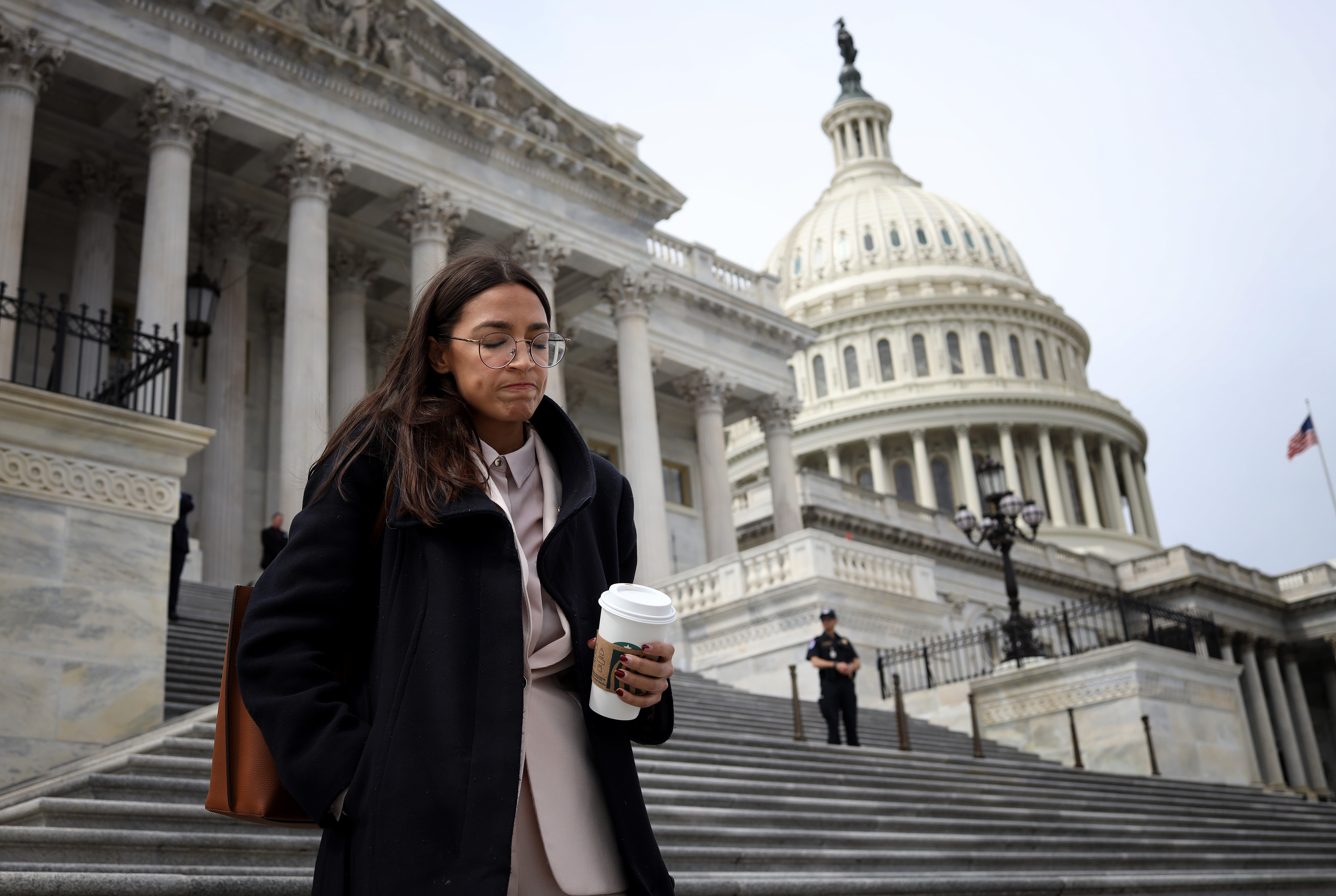 WASHINGTON, DC - MARCH 27: Rep. Alexandria Ocasio-Cortez (D-NY) leaves the U.S. Capitol after passage of the stimulus bill known as the CARES Act on March 27, 2020 in Washington, DC. The stimulus bill is intended to combat the economic effects caused by the coronavirus pandemic. (Photo by Win McNamee/Getty Images)