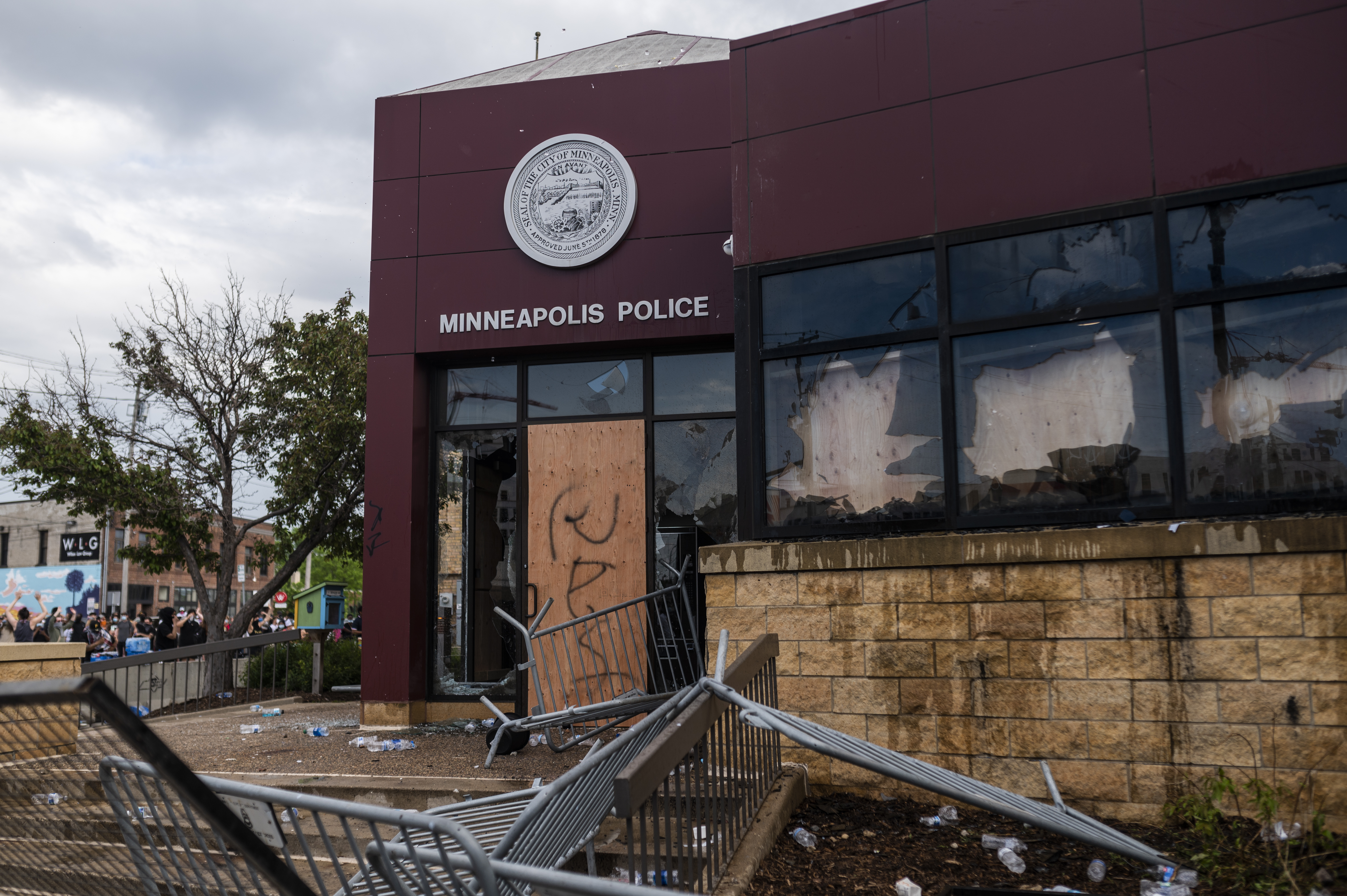 A view of the damage outside the 3rd Police Precinct building on May 27, 2020 in Minneapolis, Minnesota. (Stephen Maturen/Getty Images)
