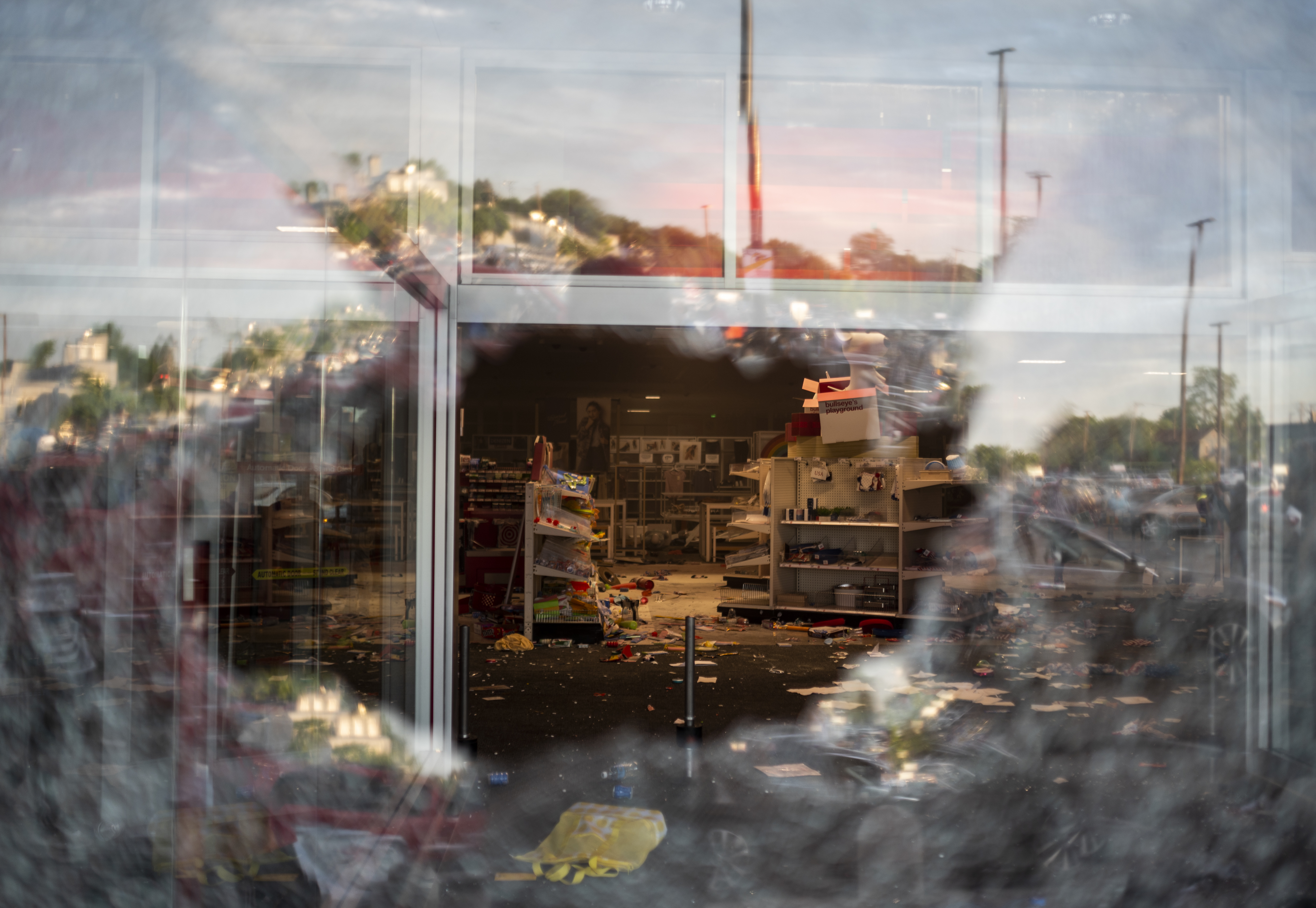 A view inside a Target store through a broken window on May 27, 2020 in Minneapolis, Minnesota. (Stephen Maturen/Getty Images)