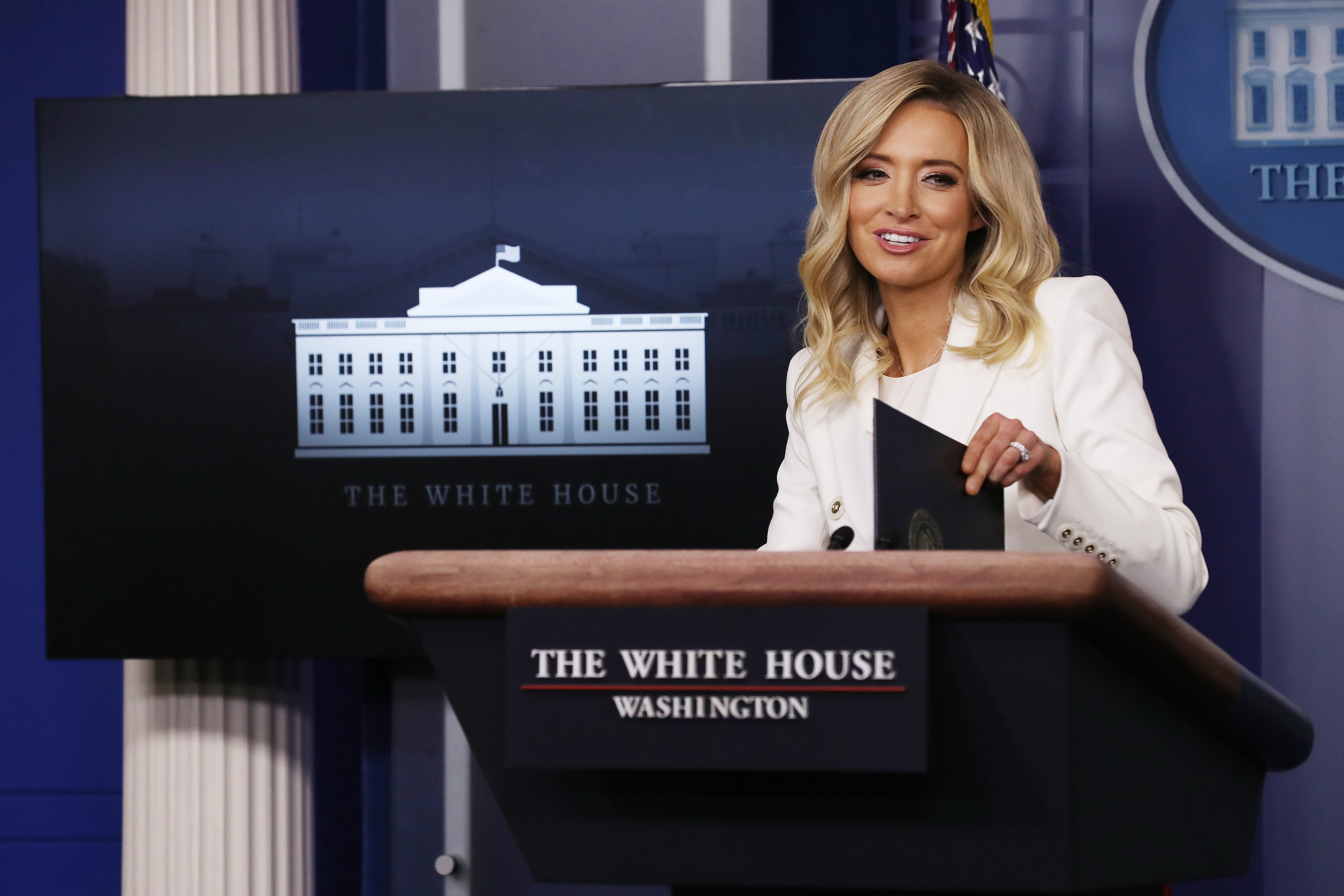 WASHINGTON, DC - MAY 06: White House Press Secretary Kayleigh McEnany conducts a news conference in the Brady Press Briefing Room at the White House May 06, 2020 in Washington, DC. This is McEnany's second formal news conference since becoming President Donald Trump's press secretary last month. (Photo by Chip Somodevilla/Getty Images)