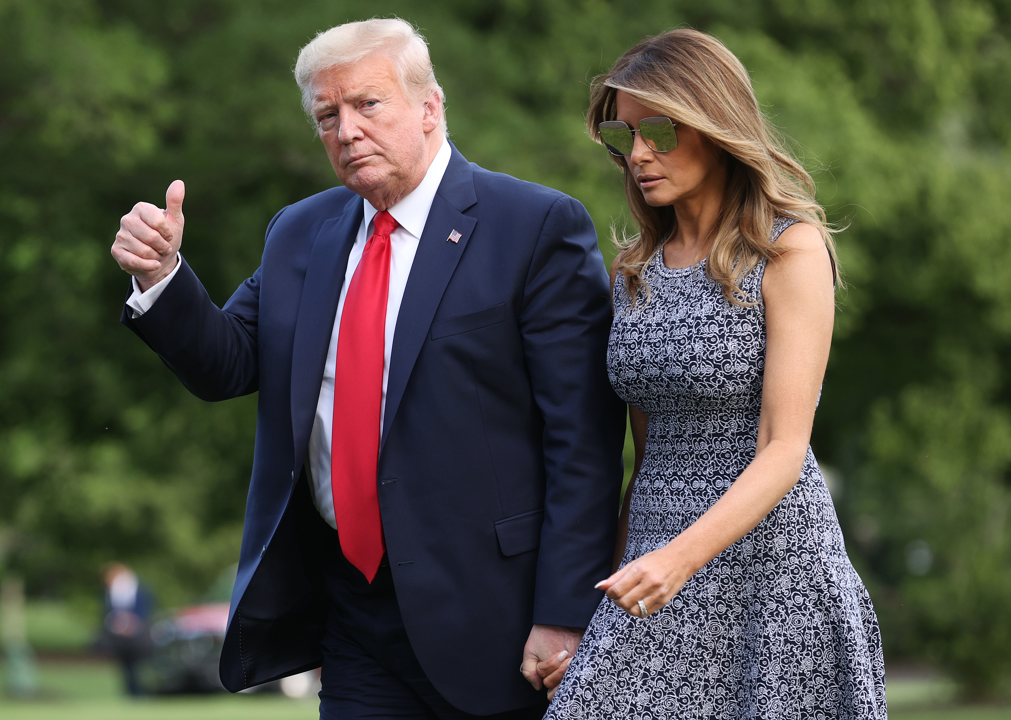 WASHINGTON, DC - MAY 27: U.S. President Donald Trump and first lady Melania Trump return to the White House on May 27, 2020 in Washington, DC. Trump traveled to Florida to watch the SpaceX launch of two U.S. astronauts to the International Space Station, but the launch was canceled due to poor weather. (Photo by Win McNamee/Getty Images)