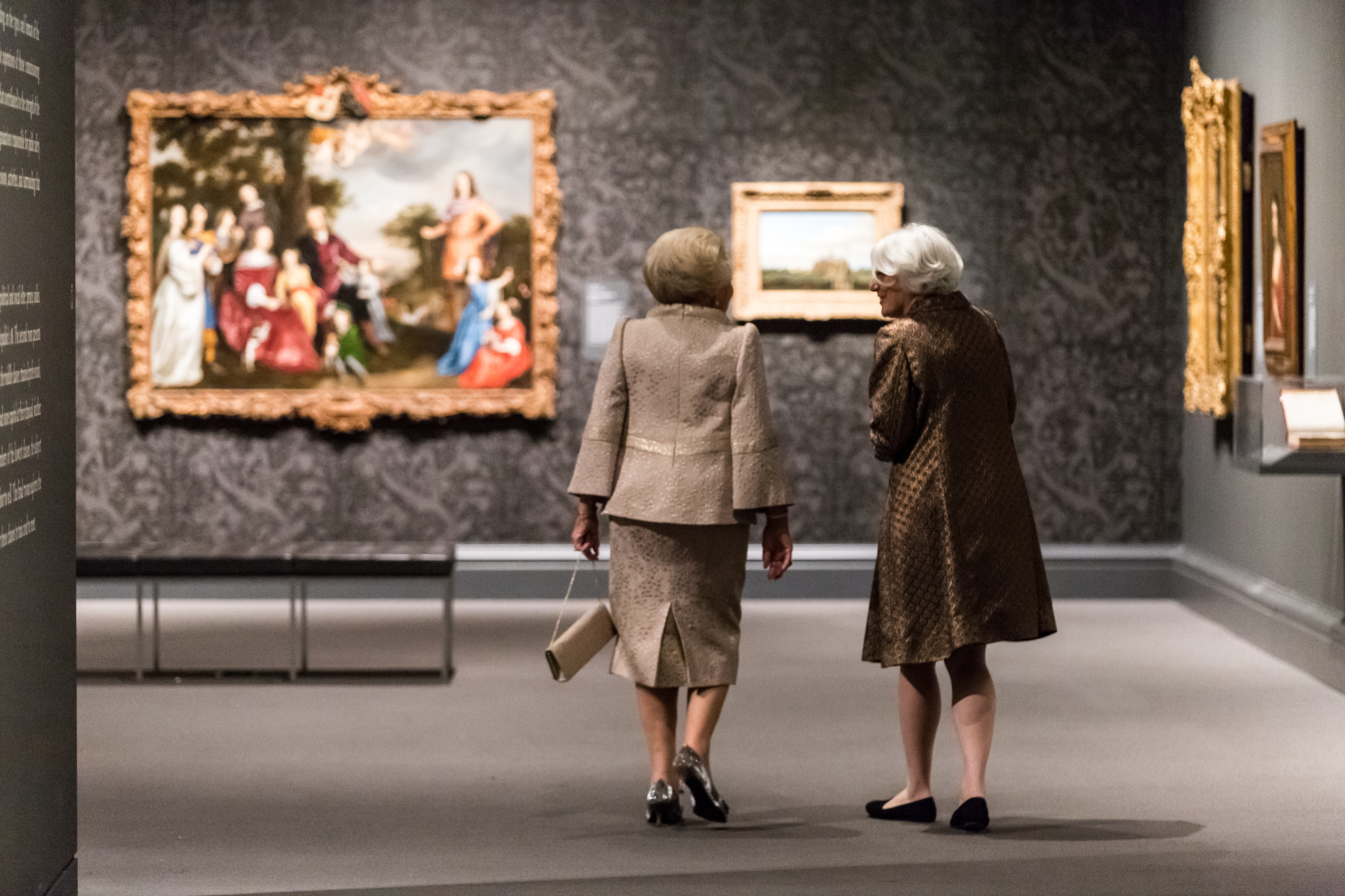 Her Royal Highness Princess Beatrix of the Netherlands and Museum of Fine Art Senior Curator Ronni Baer view