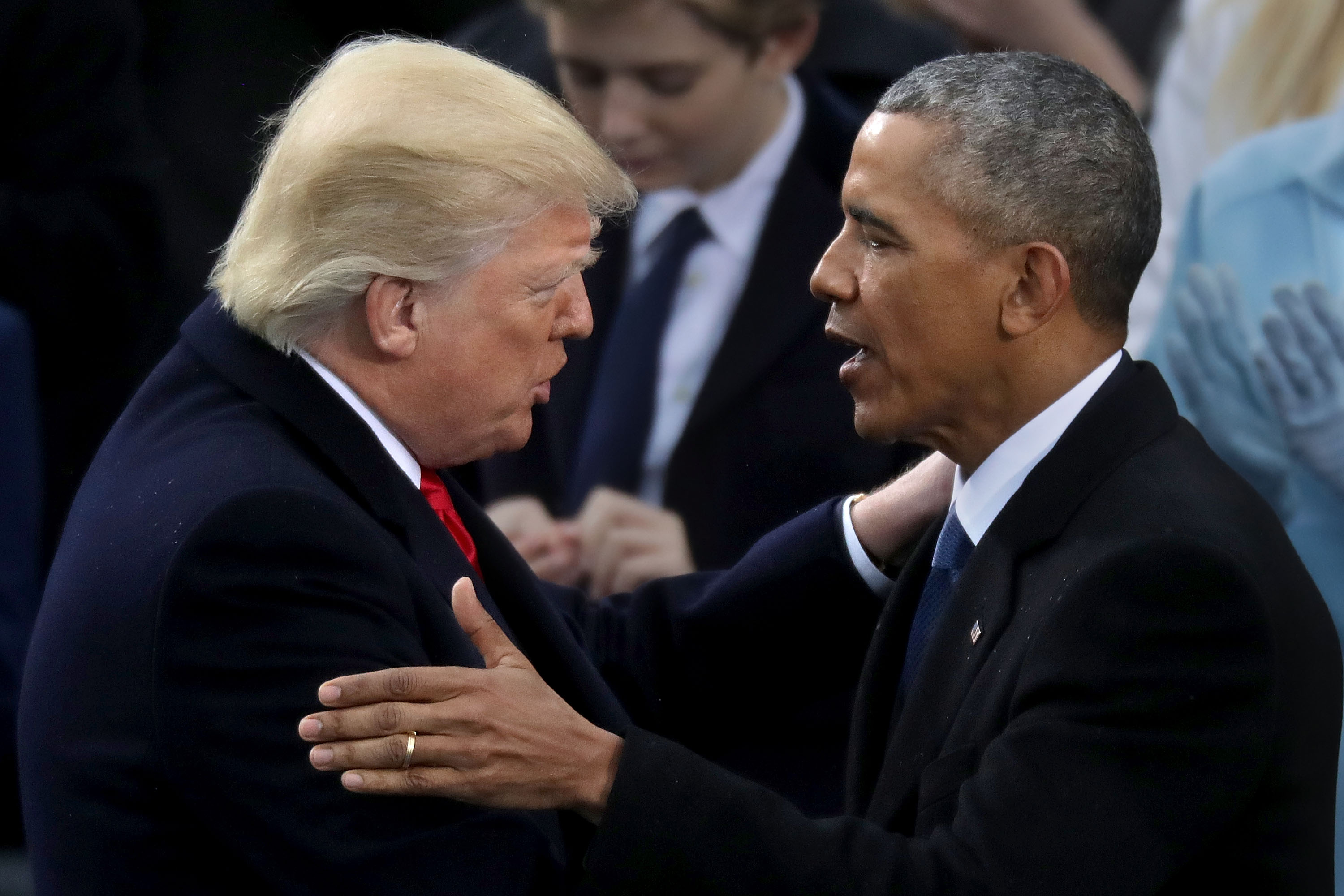 WASHINGTON, DC - JANUARY 20: Former U.S. President Barack Obama (R) congratulates U.S. President Donald Trump after he took the oath of office on the West Front of the U.S. Capitol on January 20, 2017 in Washington, DC. In today's inauguration ceremony Donald J. Trump becomes the 45th president of the United States. (Photo by Chip Somodevilla/Getty Images)
