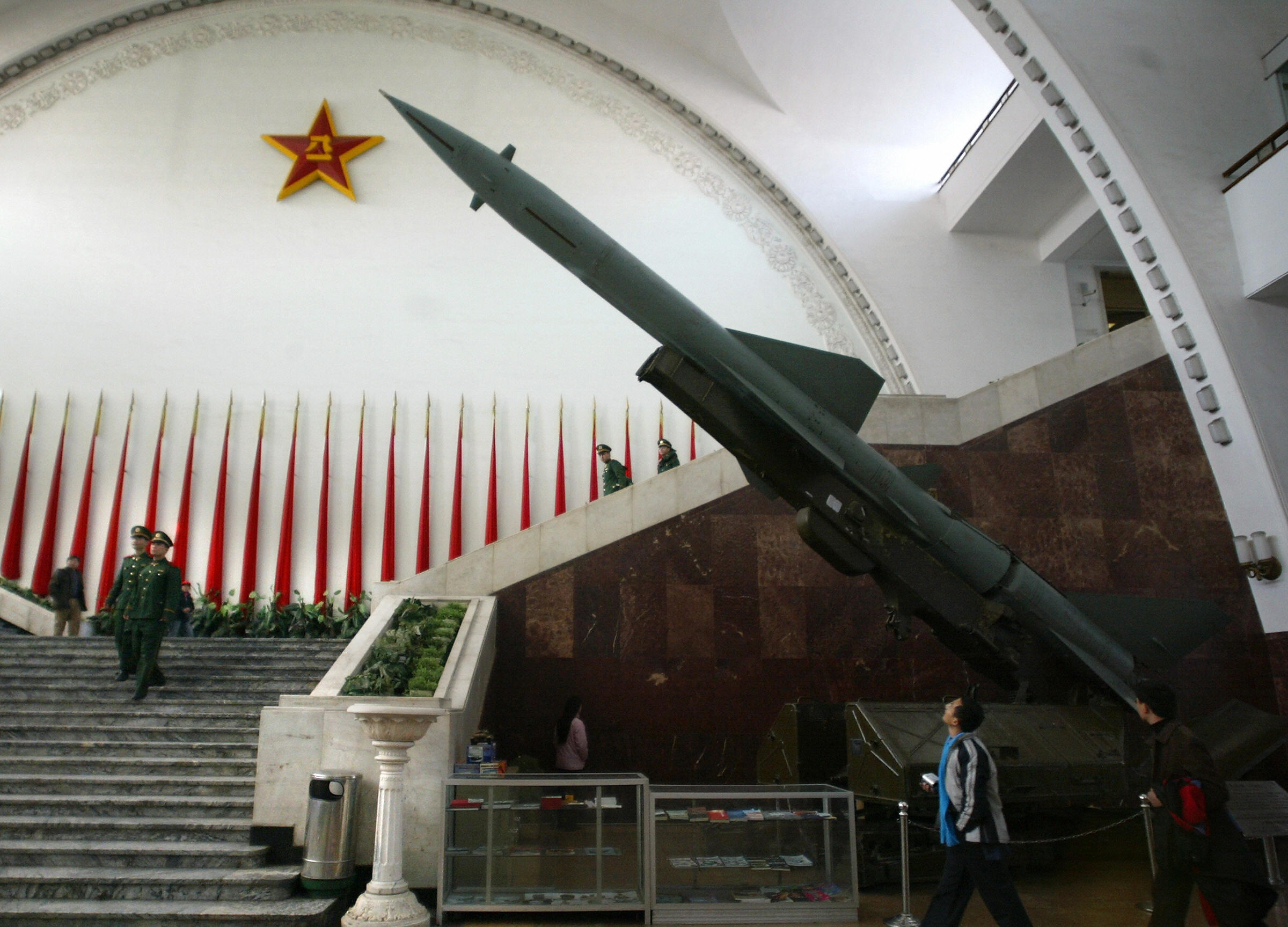 In this file picture taken 06 December 2004, a Chinese-made Hongqi-2 missile is on display at the Military Museum in Beijing. (FREDERIC BROWN/AFP via Getty Images)
