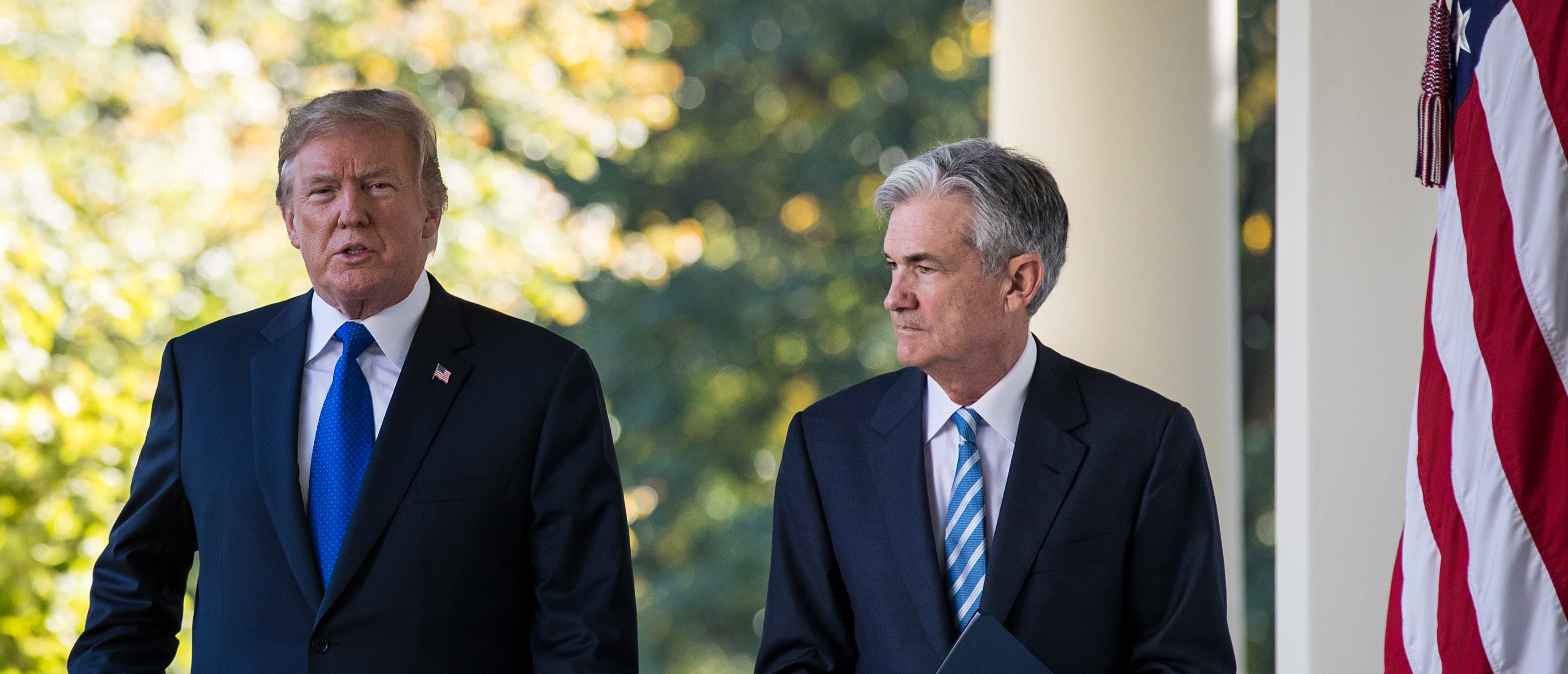WASHINGTON, DC - NOVEMBER 02: (L to R) U.S. President Donald Trump walks with his nominee for the chairman of the Federal Reserve Jerome Powell on their way to a press event in the Rose Garden at the White House, November 2, 2017 in Washington, DC. Current Federal Reserve chair Janet Yellen's term expires in February. (Photo by Drew Angerer/Getty Images)