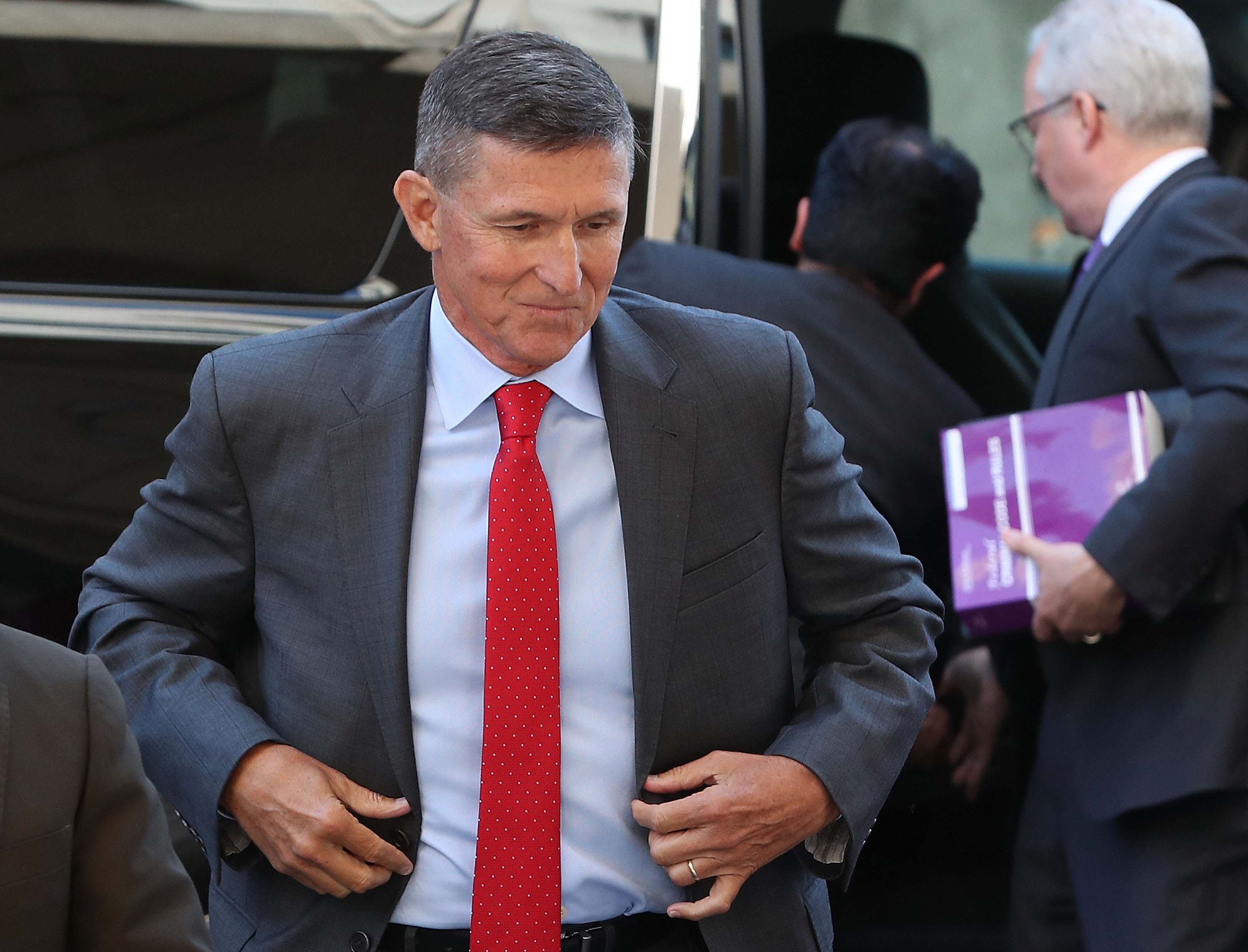 Michael Flynn, former national security advisor to President Donald Trump, arrives at the E. Barrett Prettyman Federal Courthouse for a status hearing July 10, 2018 in Washington, DC. (Mark Wilson/Getty Images)